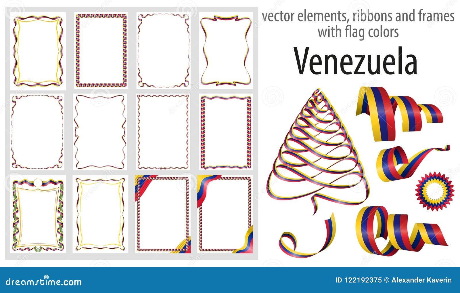 Vector Los Elementos, Las Cintas Y Los Marcos Con Los Colores ...