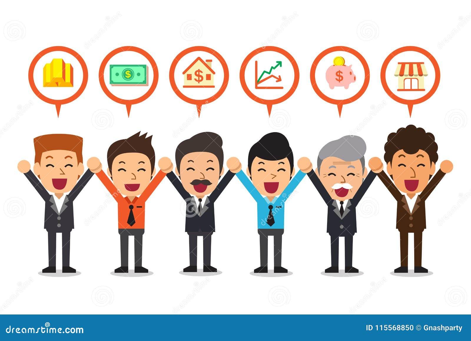 Vector a los hombres de negocios de la historieta que hablan de diversas opciones de inversión