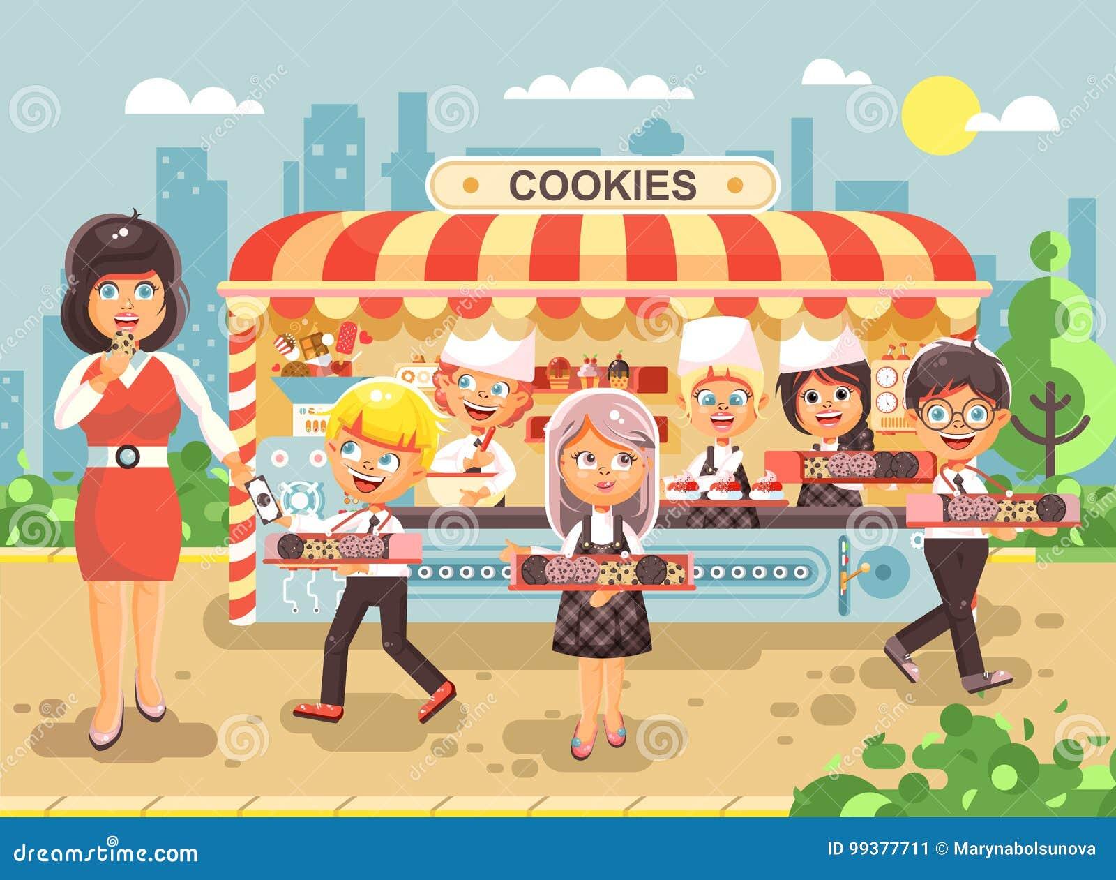 8ea747dce12 Niños, alumnos, colegiales y colegialas comunes de los personajes de  dibujos animados del ejemplo del vector poca fabricación de la venta del  negocio de ...