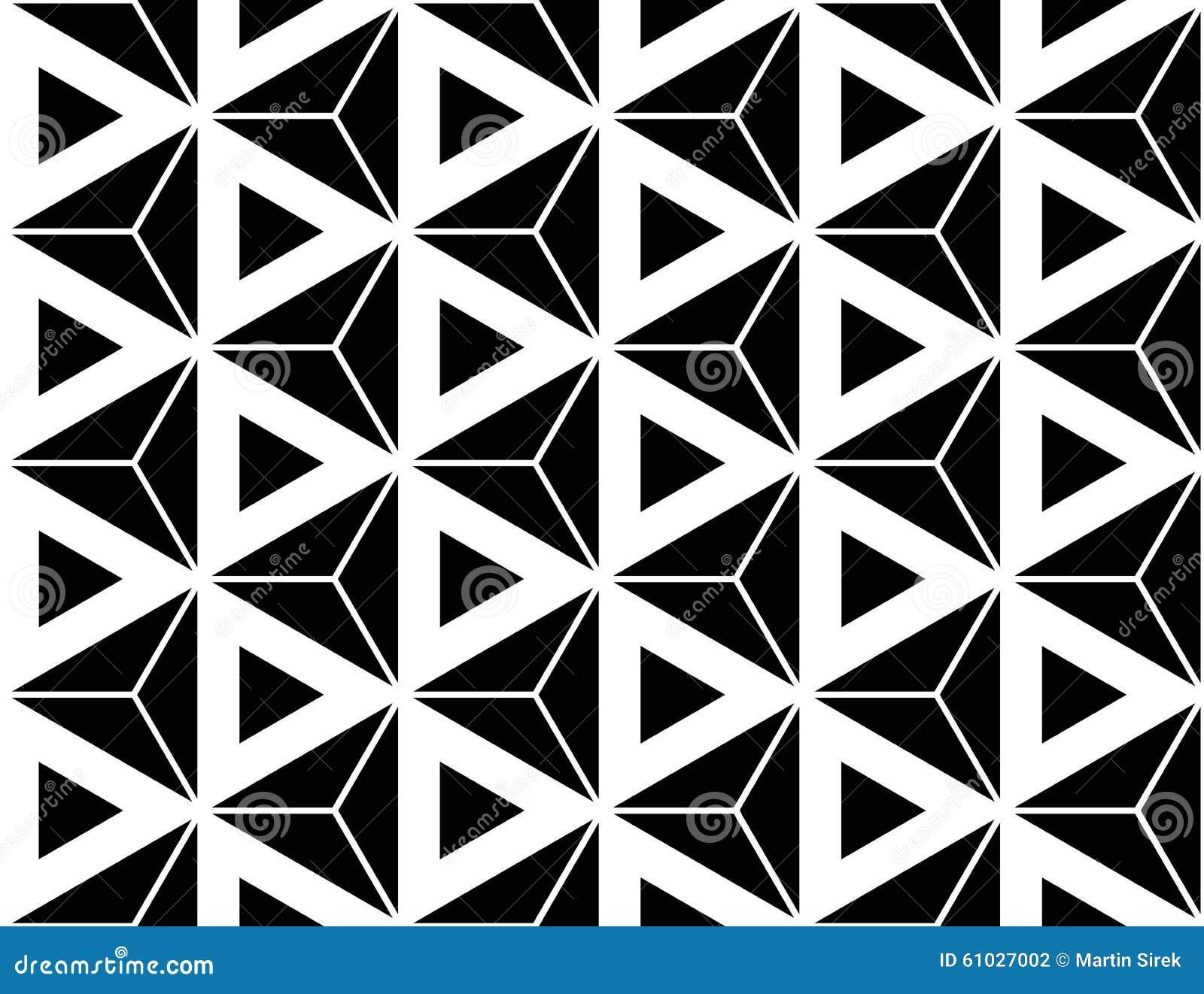 Vector los triángulos sagrados inconsútiles modernos del hexágono del modelo de la geometría, extracto blanco y negro