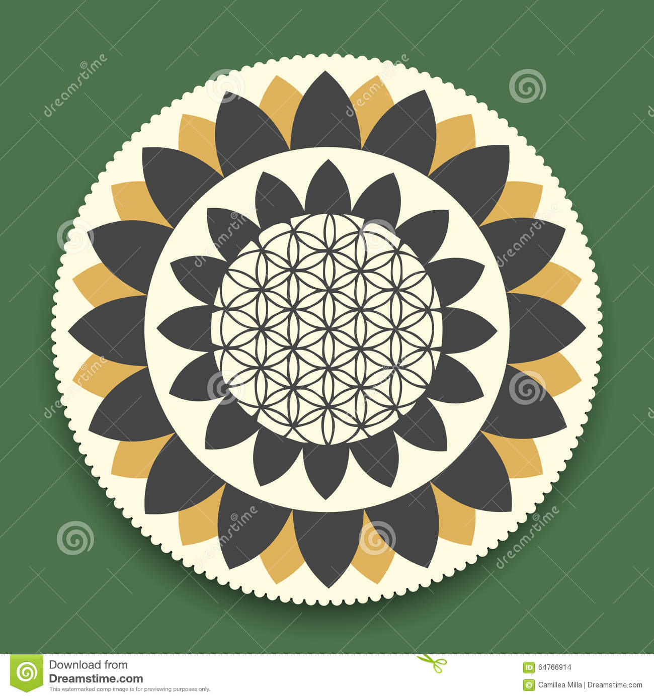 Vector Lotus Mandala With Flower Of Life Symbol Stock Vector