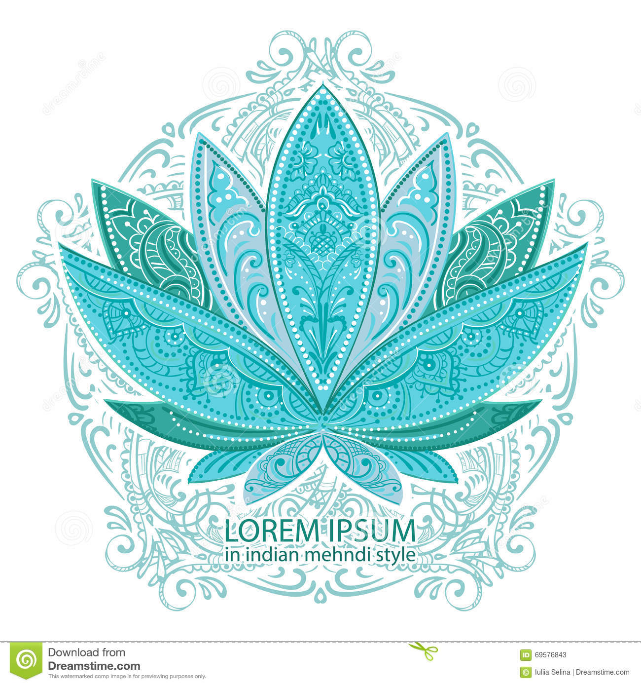 Unusually Vector Image Of A Lotus Ornate Paisley Mandala And Mehendi Great For Greeting Cards Yoga Store Spices Ethnic Shop Printing