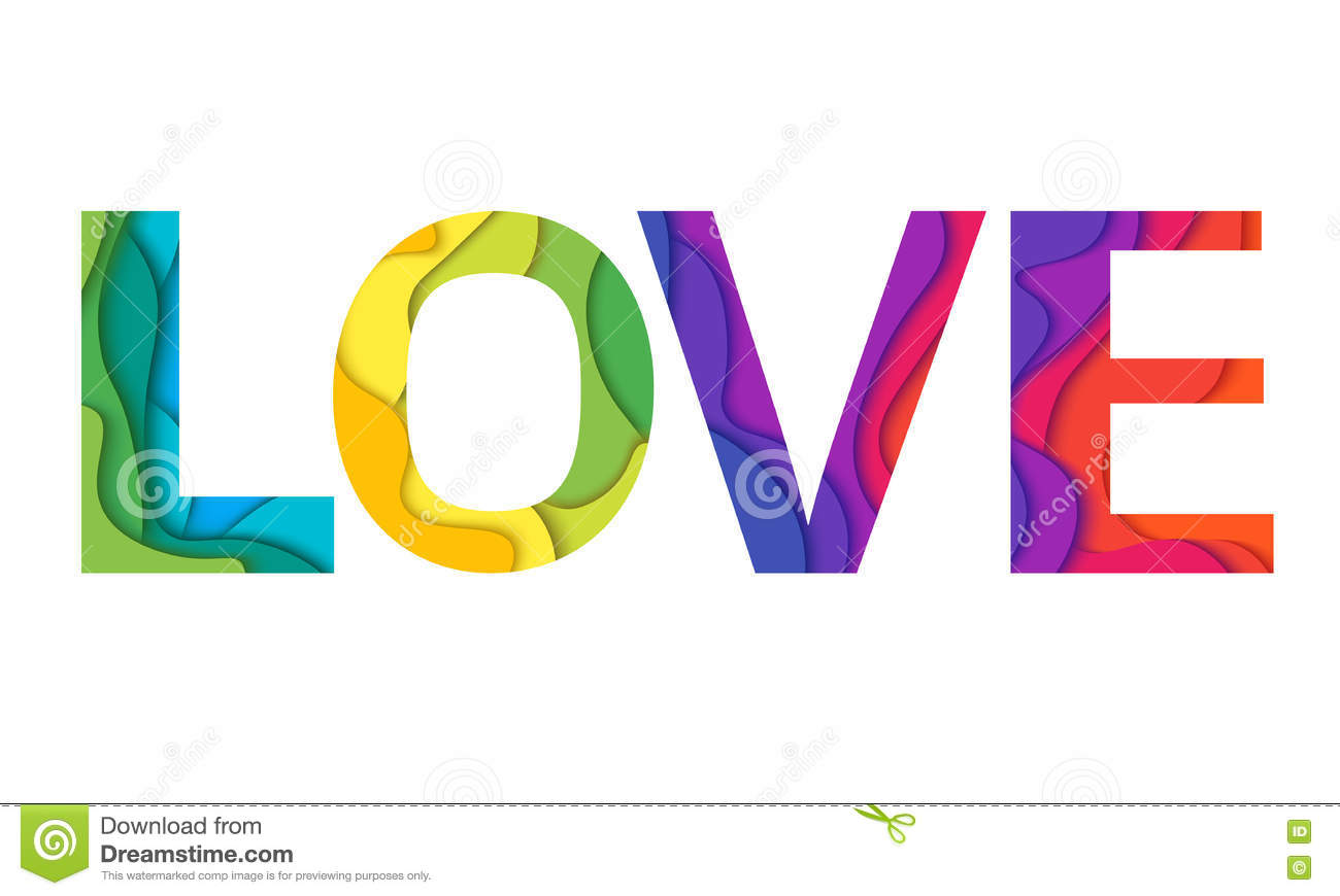 Love Word Mockup Print Colored Graphic Material Layered Design For T Shirt Or Poster Background