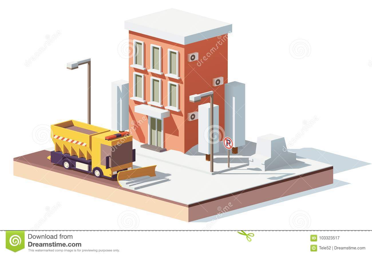 Vector Low Poly Snowplows Working In The City Stock Vector
