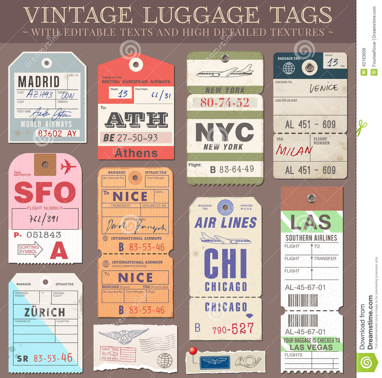 United Baggage Prices Vector Luggage Tags Stock Vector Image 42163608