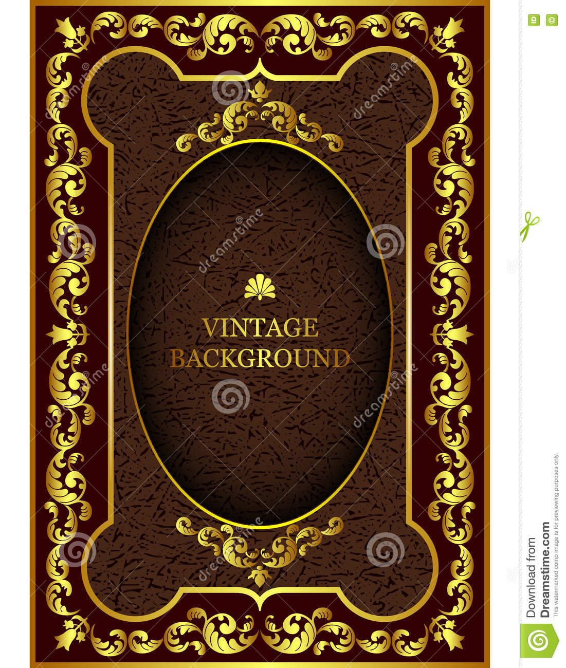 Old Book Cover Vector : Old worn book cover with ornamental pattern stock
