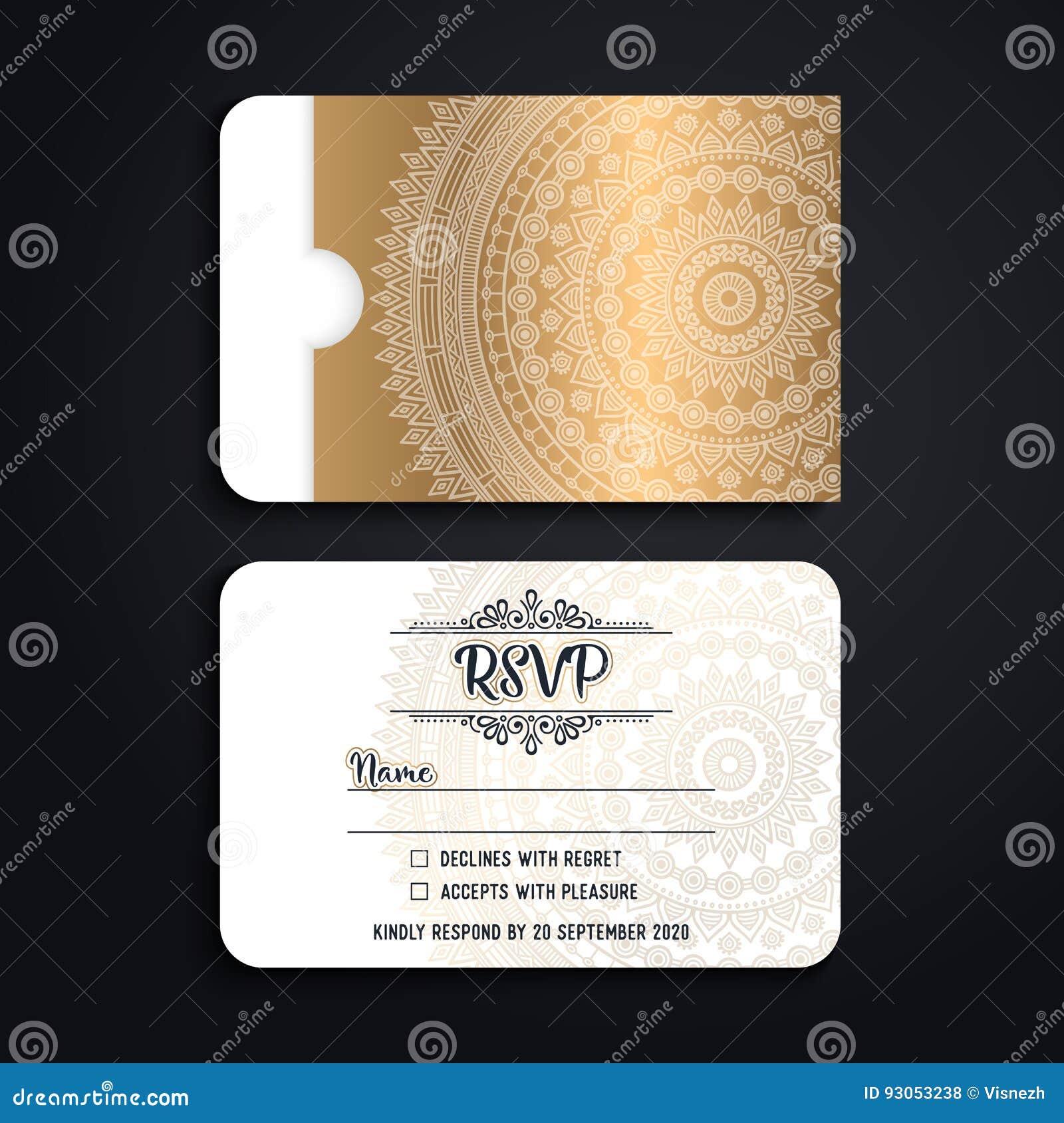 Vector luxury wedding invitation with mandala stock vector download vector luxury wedding invitation with mandala stock vector illustration of business background stopboris Images