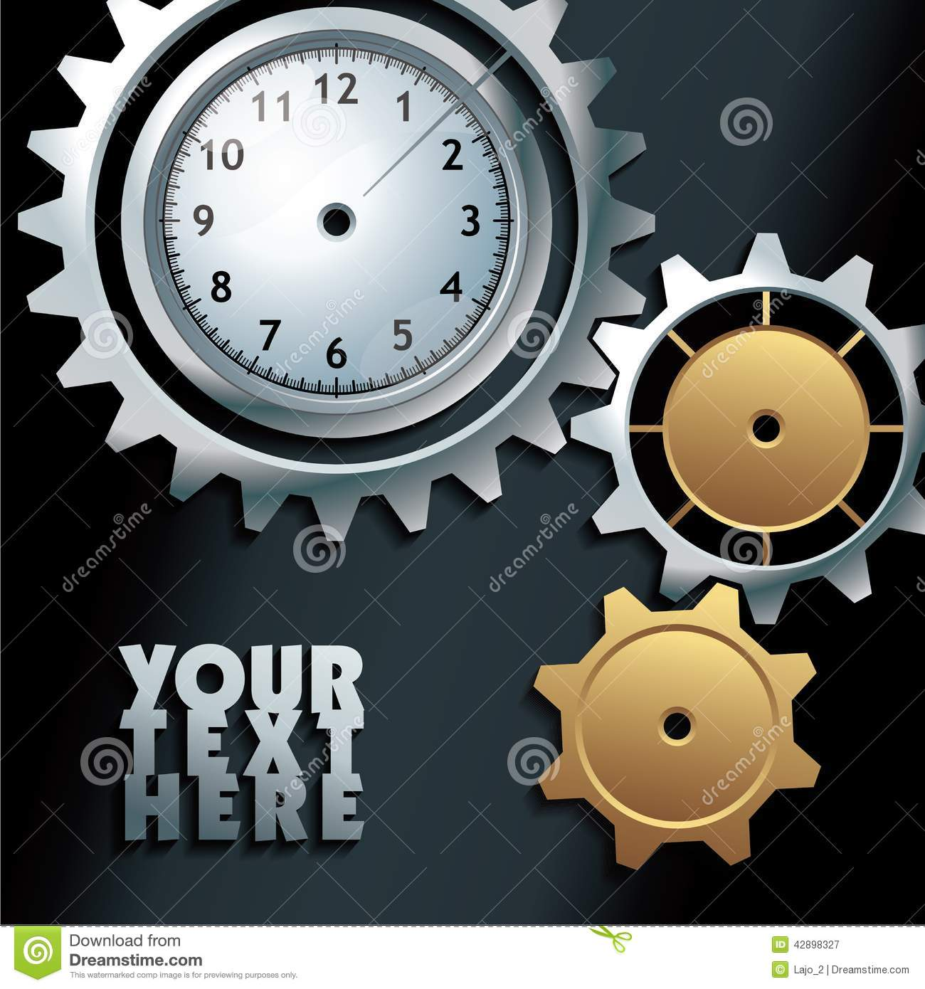 Vector machine gears with clock background