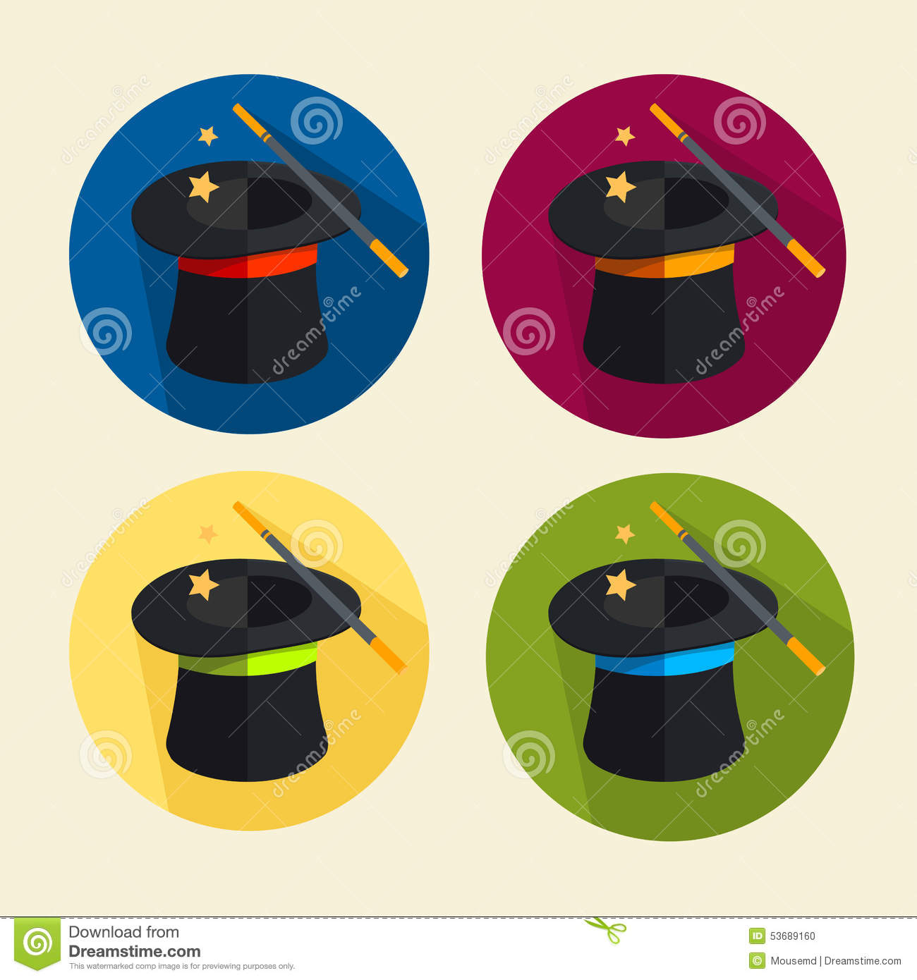 Vector Magic Hat Icon Set Stock Vector - Image: 53689160