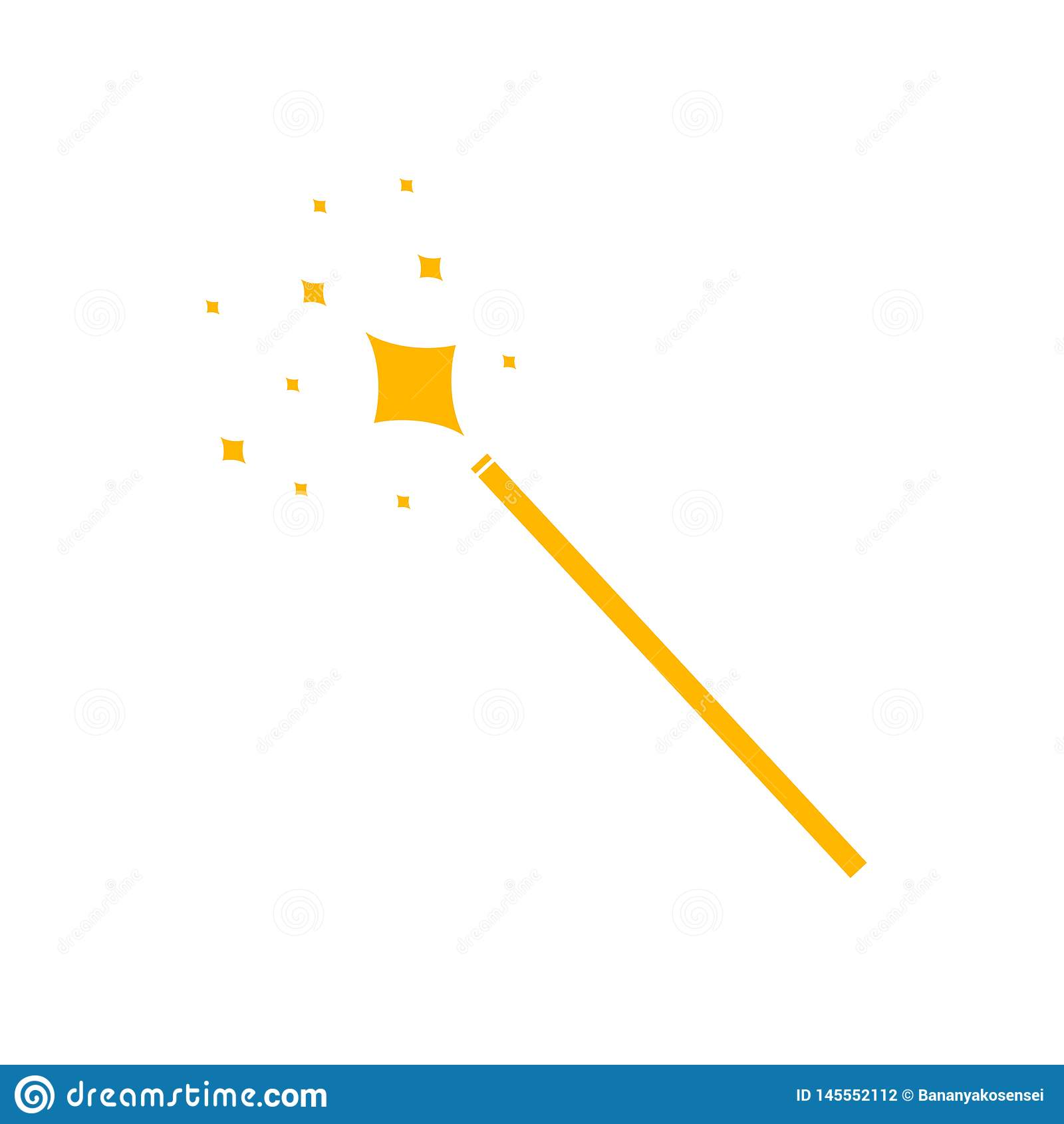 Vector Magic Wand Icon, Yellow Pictogram Isolated, Magical Shining.