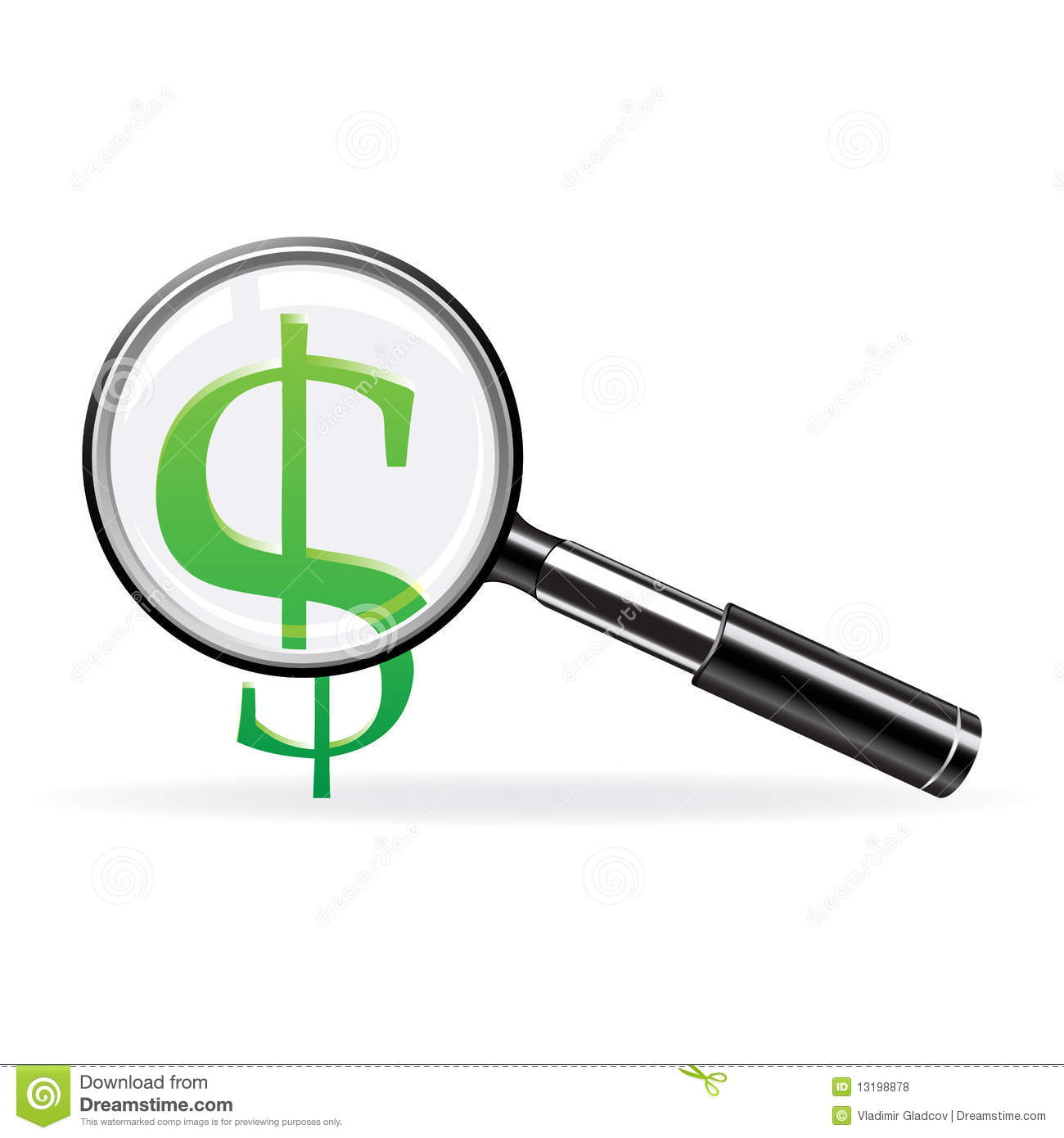 Vector Magnifier And Sign Of Dollar Royalty Free Stock