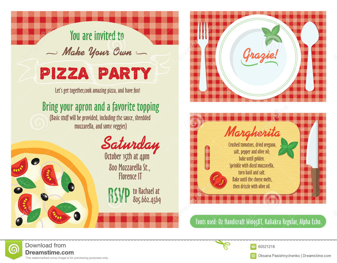 vector make your own pizza party invitation set stock vector