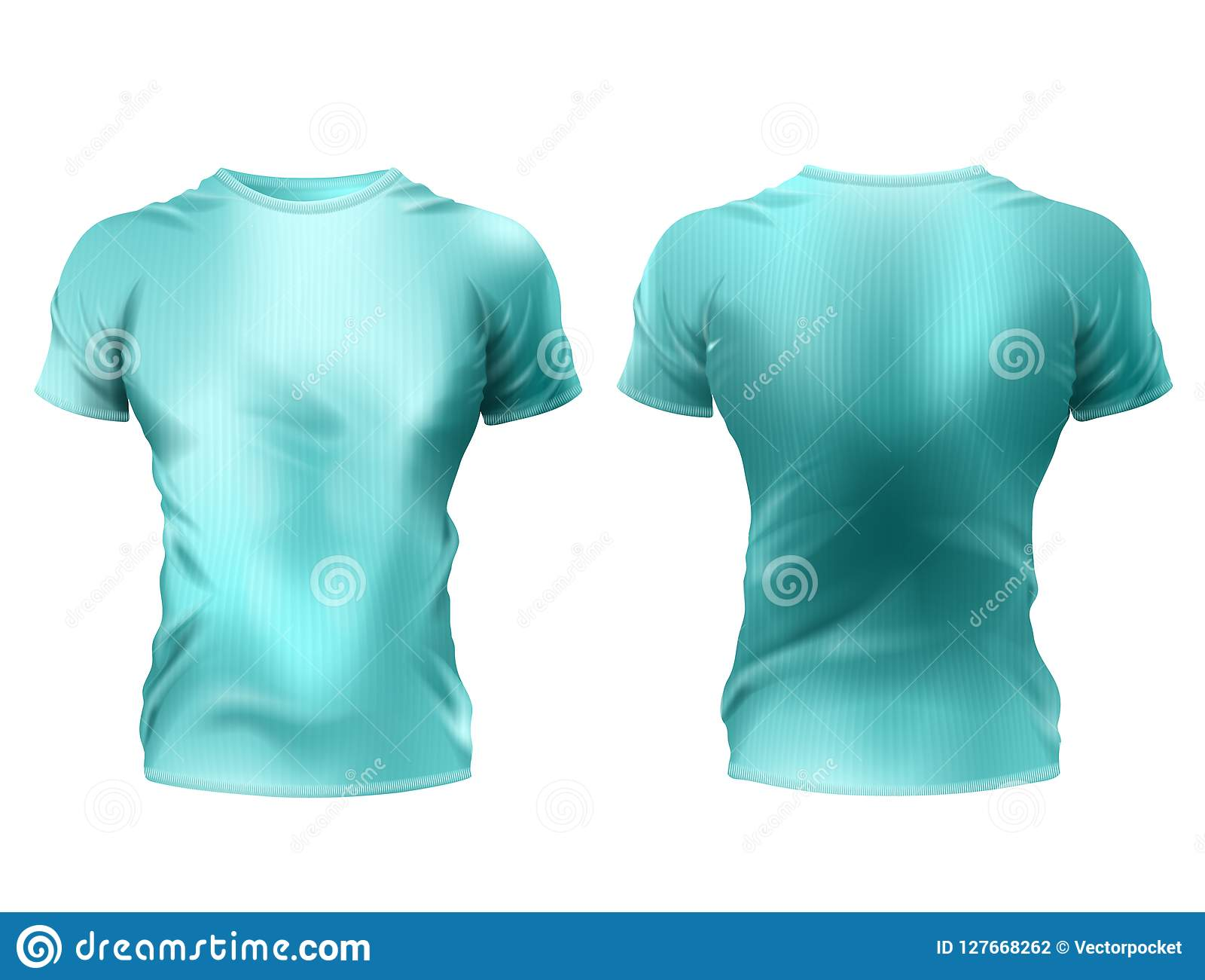 9fda71691 Vector 3d realistic male t-shirt mockup, blue shirts with short sleeves  isolated on white background. Casual unisex sportswear, front and back  view, ...