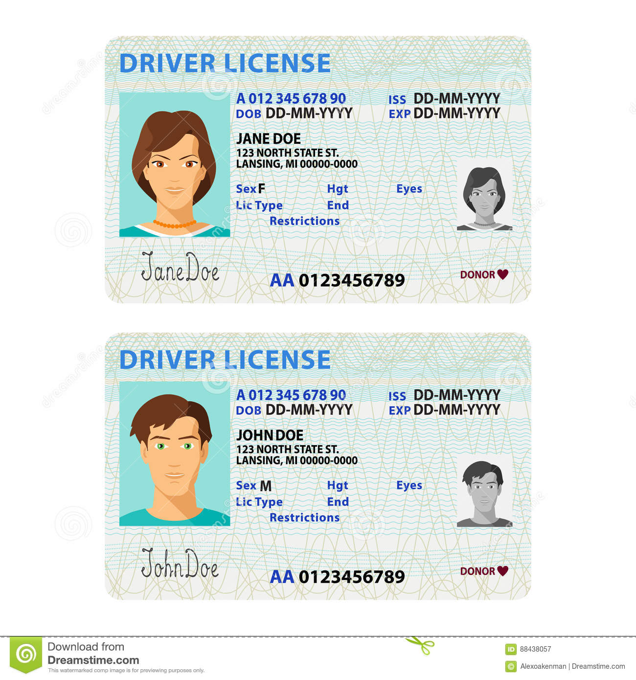 vector man and woman driver license plastic card template stock