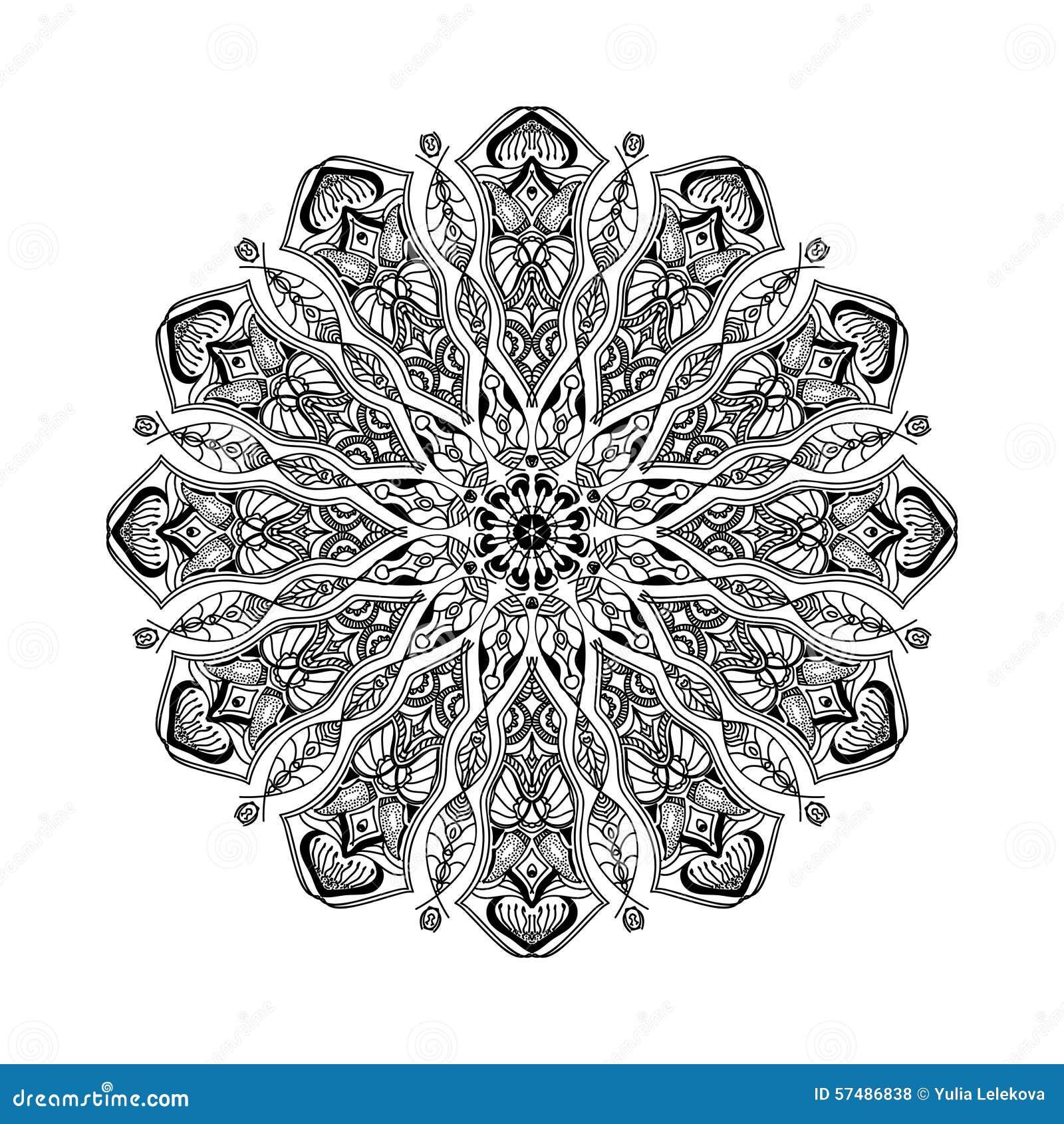 Vector Mandala Floral Circular Ornament With Ethnic