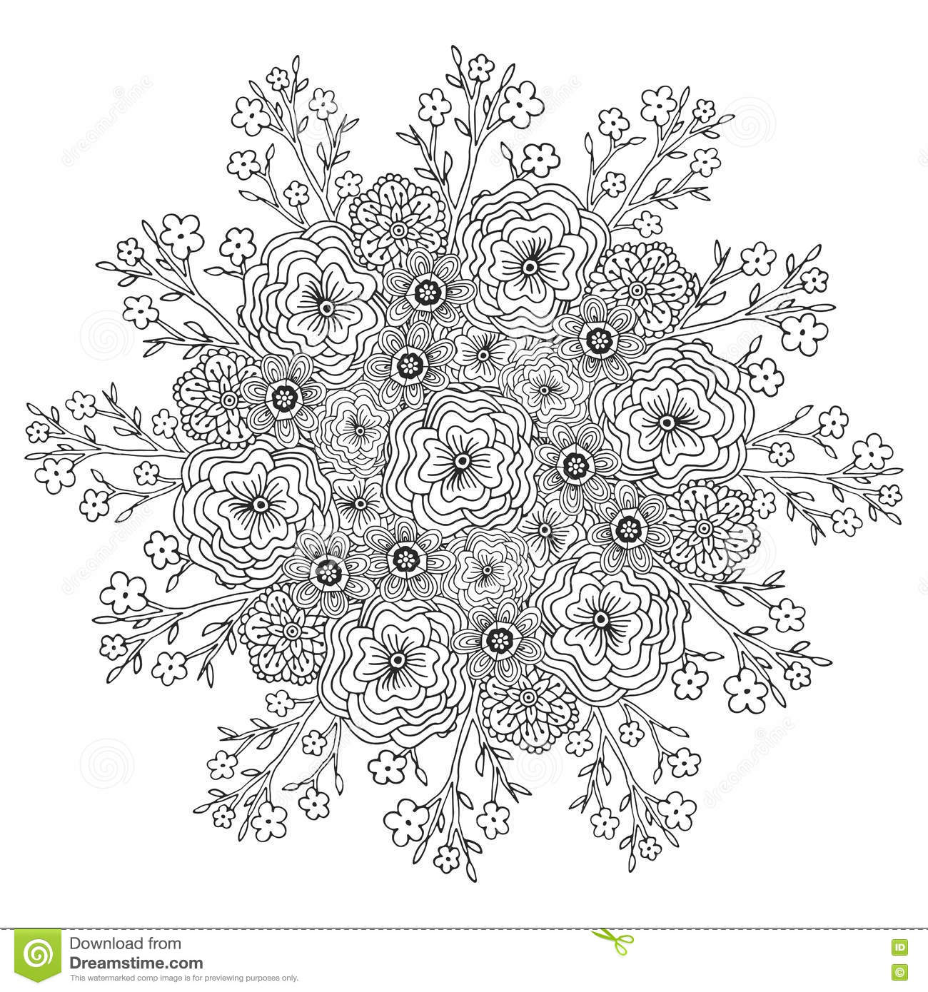 Download Vector Mandala With Flowers Pattern Adult Coloring Book Page Floral Design For Decoration