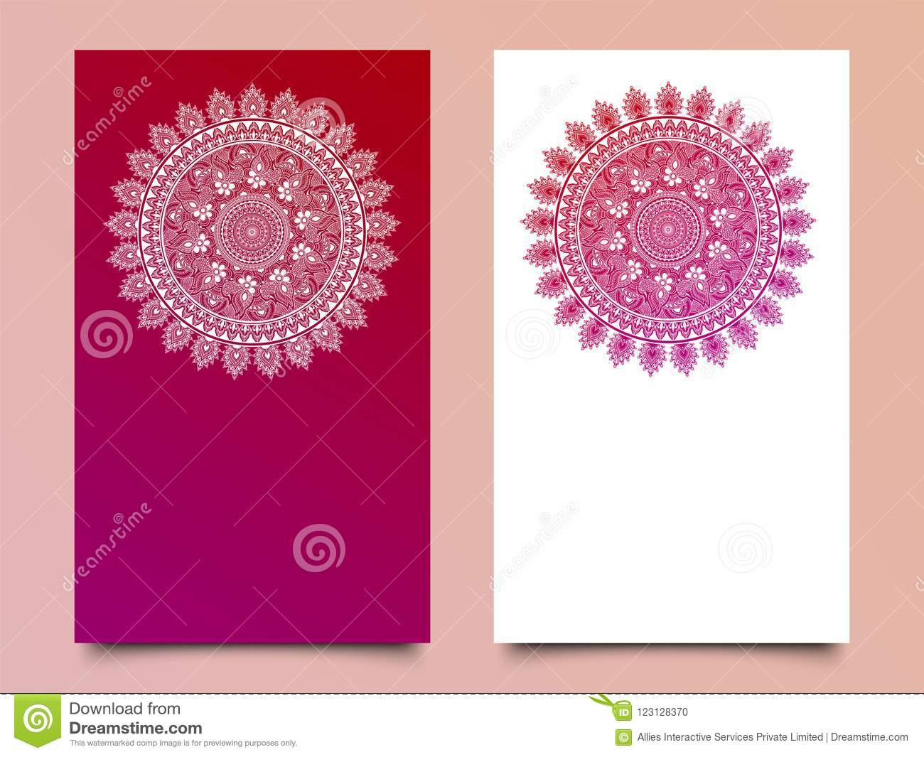 Vector Mandala Pattern In Two Color For Template Stock