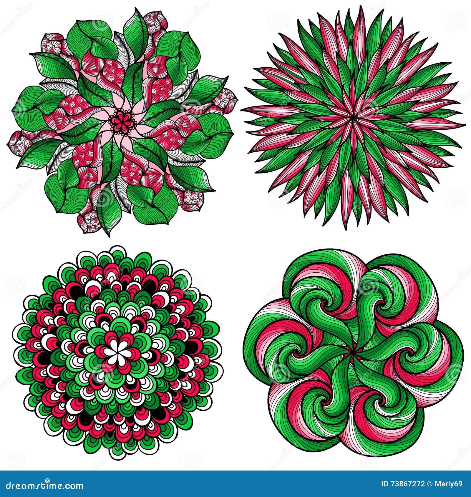vector mandalas. colored mandala set. oriental round ornament