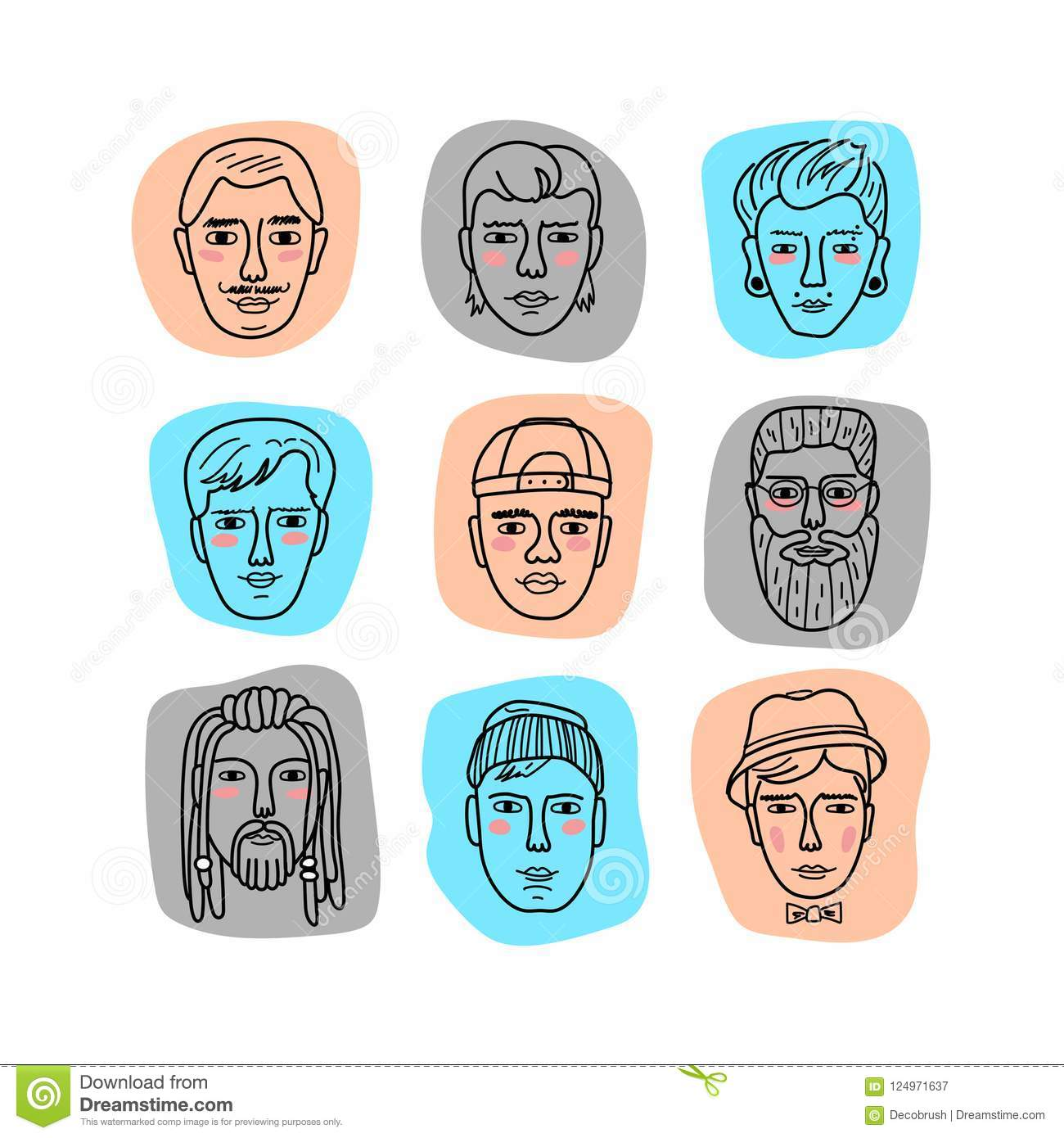 Vector mans faces doodle portraits of men funny avatars collection of hand drawn trendy hipster men vector isolated icons