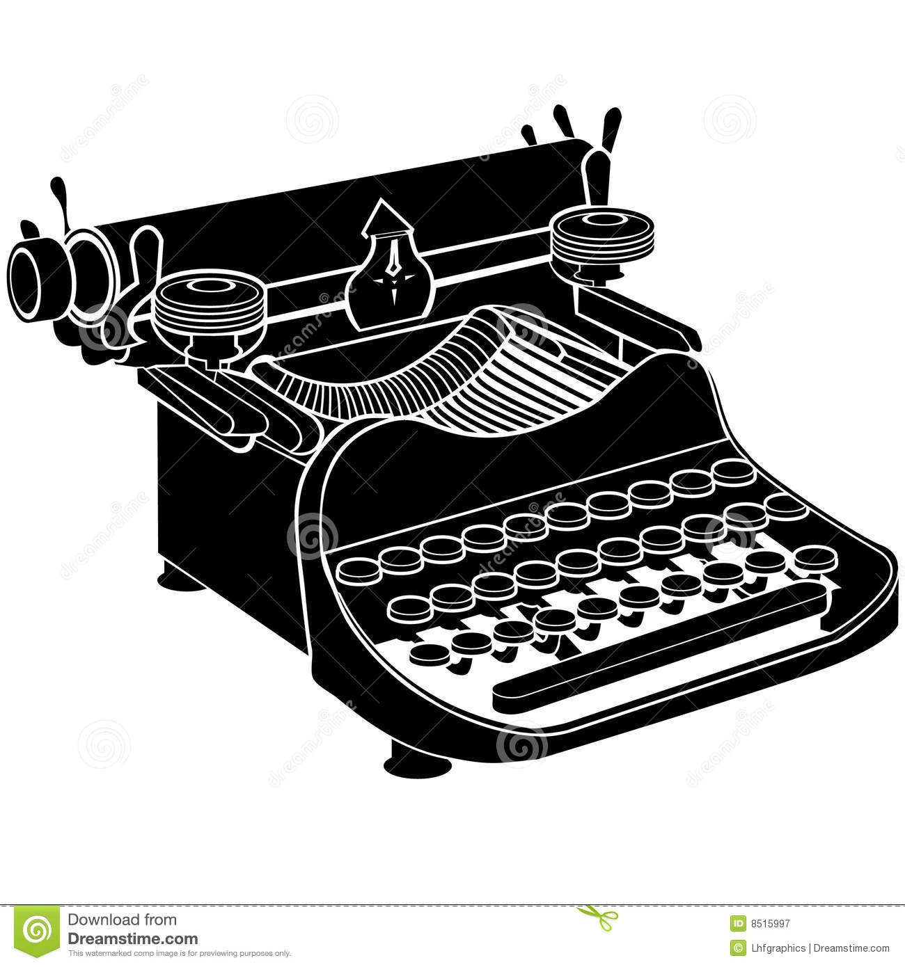 Vector manual typewriter