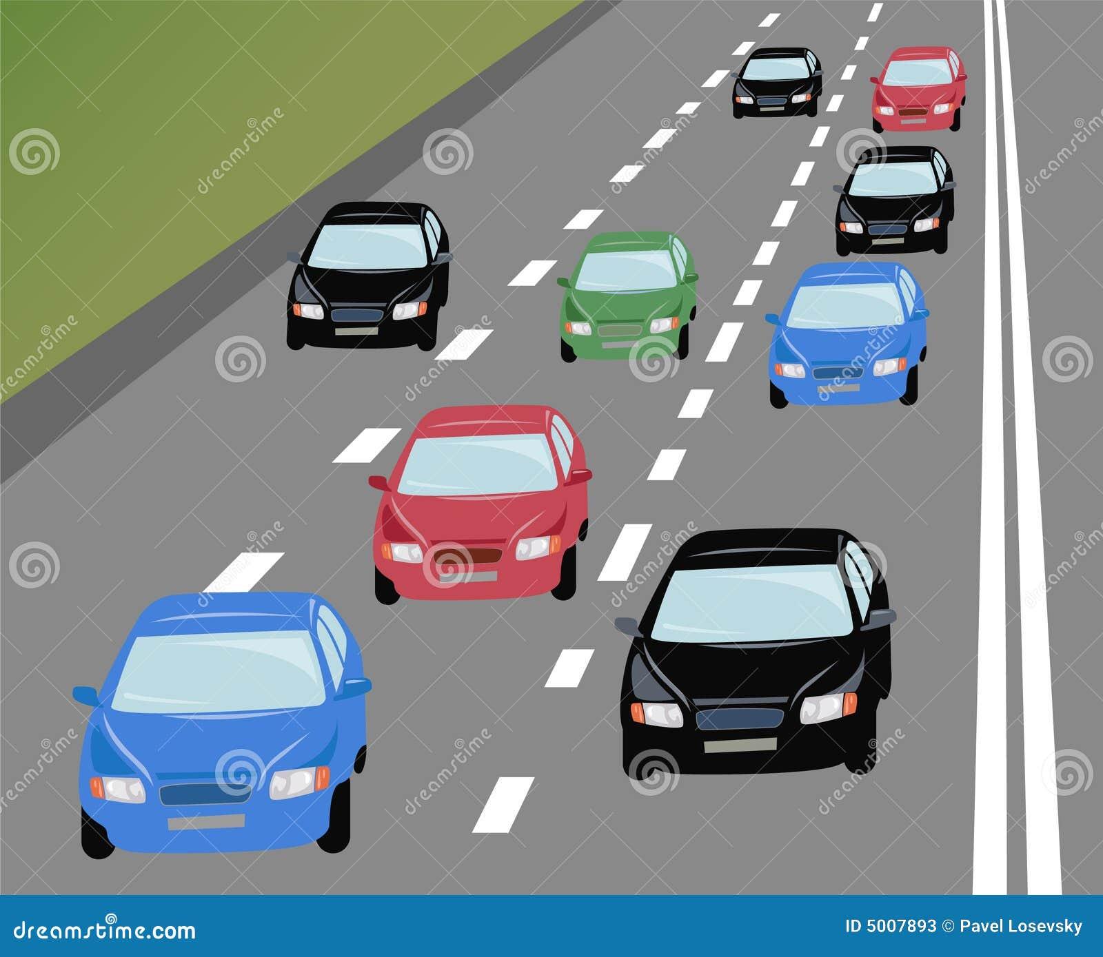 Vector Many Cars On Road Stock Vector Illustration Of Heavy 5007893