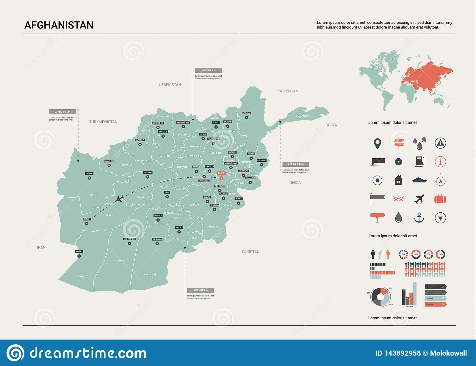 Vector Map Of Afghanistan . High Detailed Country Map With ...