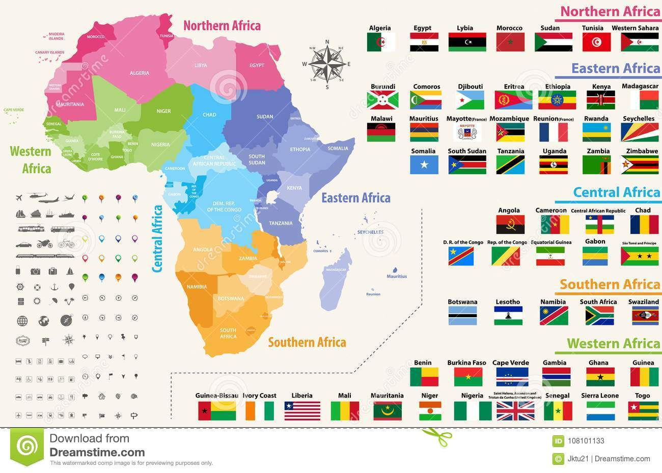 Vector Map Of Africa Continent Colored By Regions. All Flags Of ...