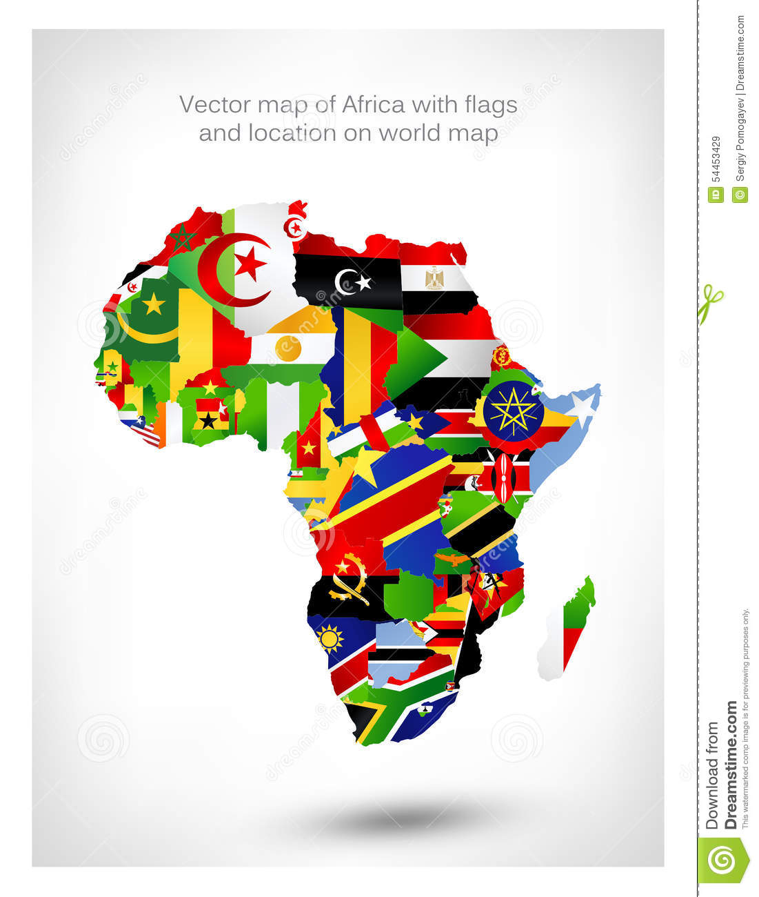 Vector map of africa with flags and location on world map stock vector map of africa with flags and location on world map gumiabroncs Image collections