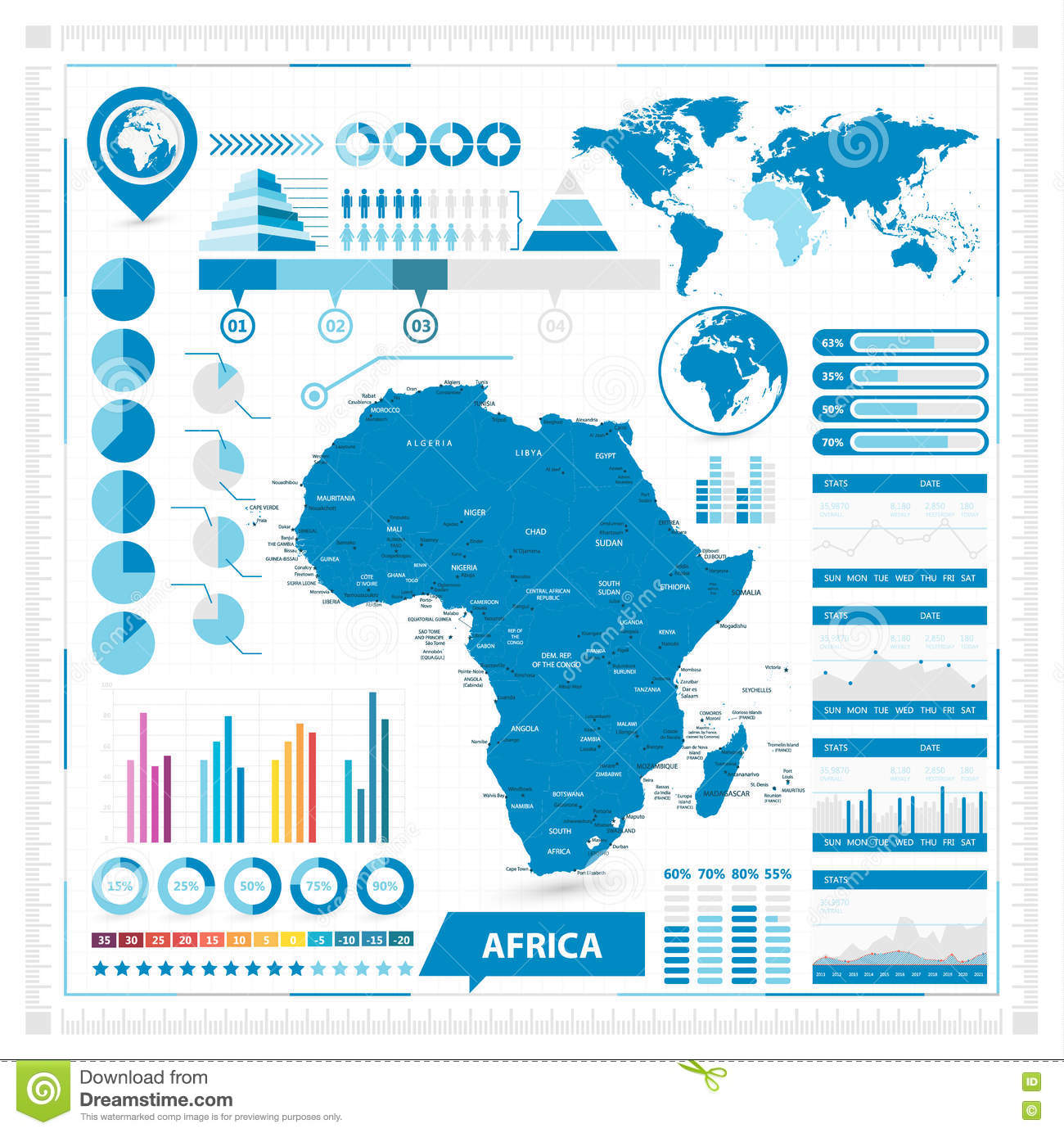 Vector Map Of Africa And Infographic Elements Stock Vector ...