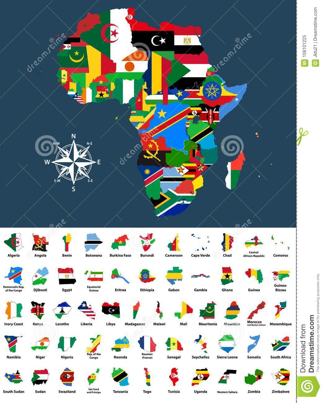 Download Vector Map Of Africa Mixed With Countries Flags. Collection Of All African  Maps Combined