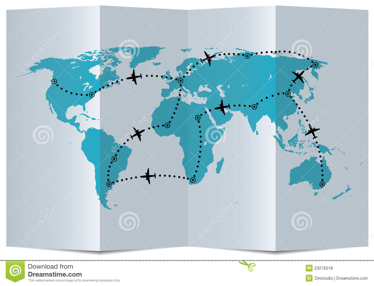 Vector Map With Airplane Flight Paths Royalty Free Stock Photos ...