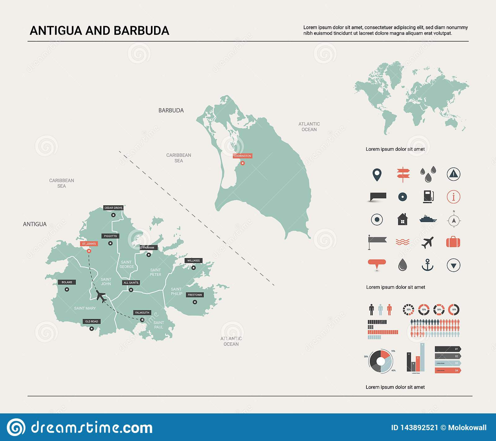 Vector Map Of Antigua And Barbuda High Detailed Country Map With Division Cities And Capital Political Map World Map Stock Vector Illustration Of City Button 143892521