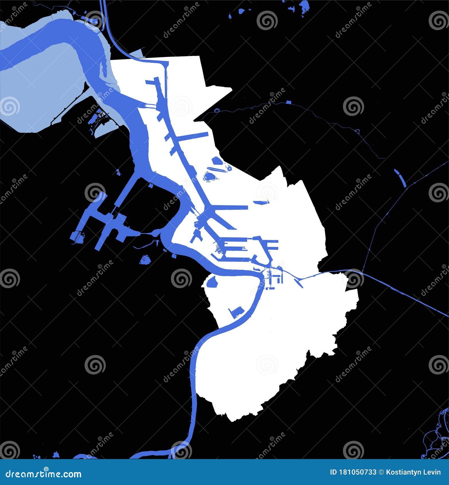 Vector Map Of Antwerpen Antwerp Belgium With River And Coastline Stock Illustration Illustration Of River Area 181050733