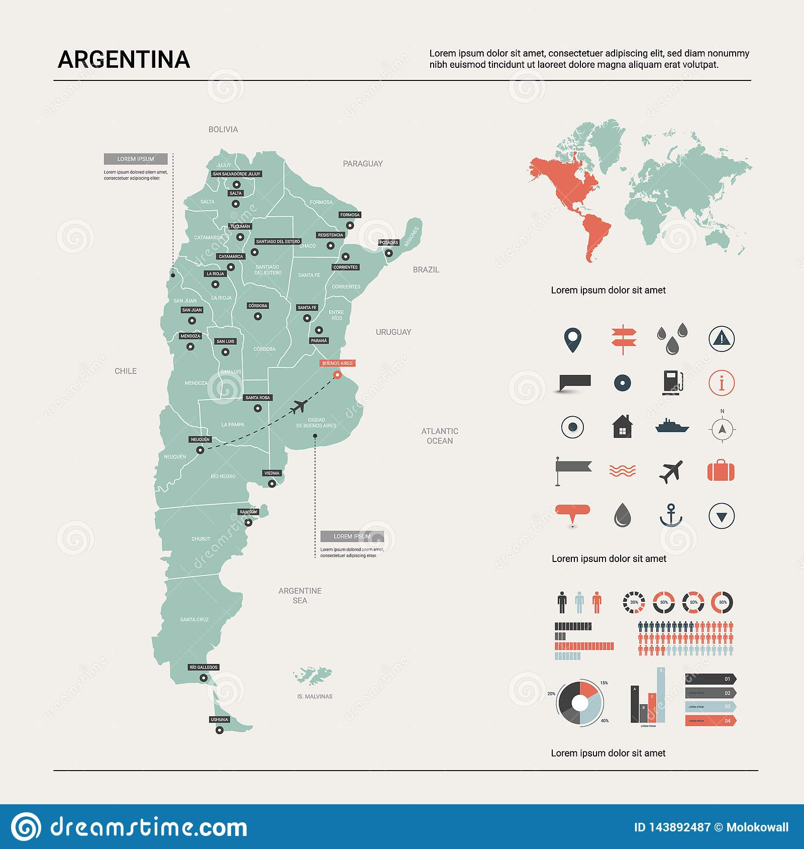 Vector Map Of Argentina . High Detailed Country Map With ...