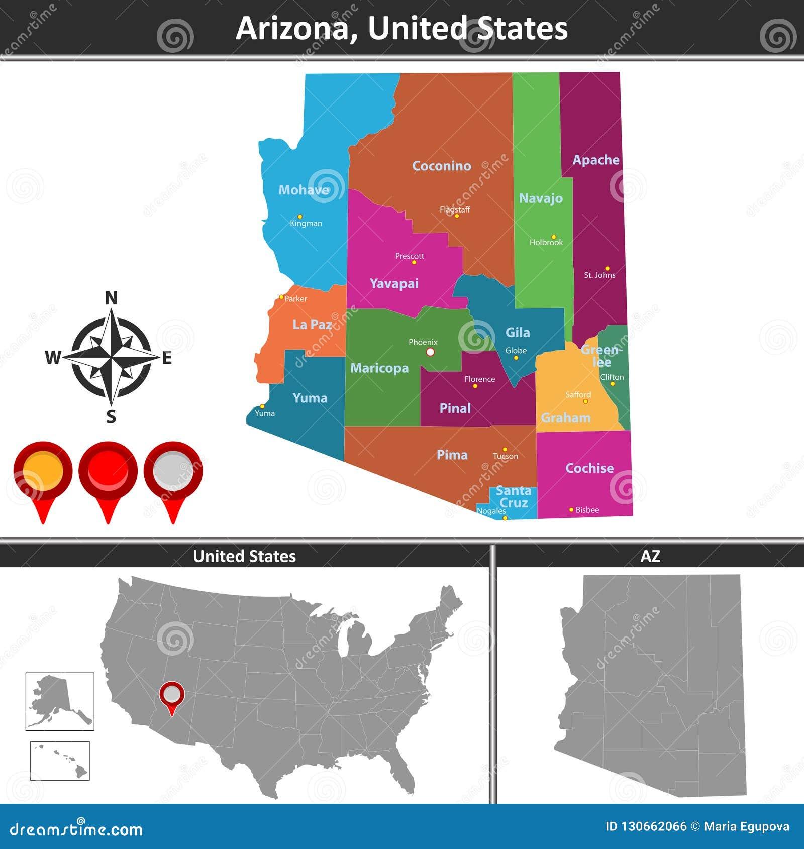 Map of Arizona, US stock vector. Illustration of pinal - 130662066