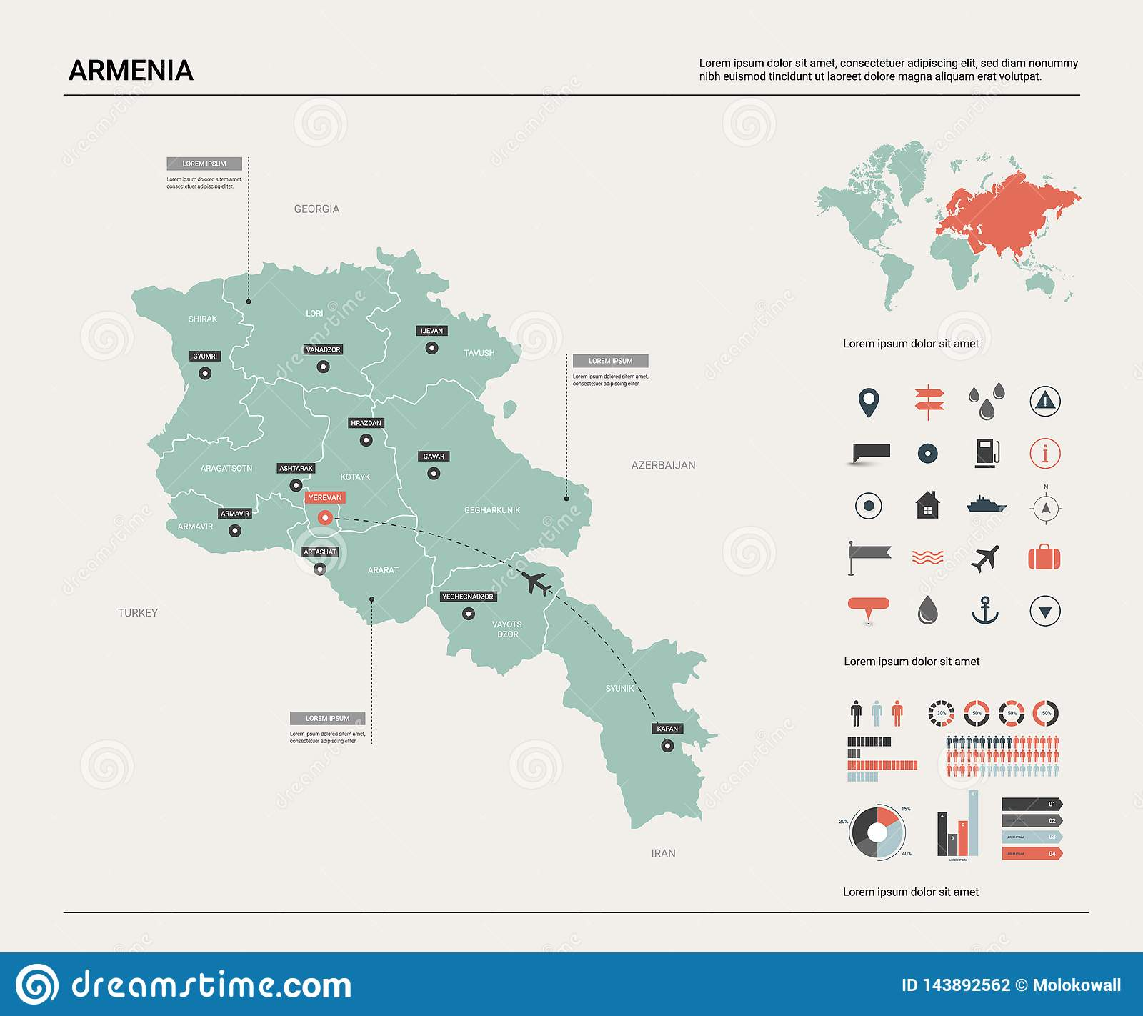 Vector Map Of Armenia. High Detailed Country Map With ...