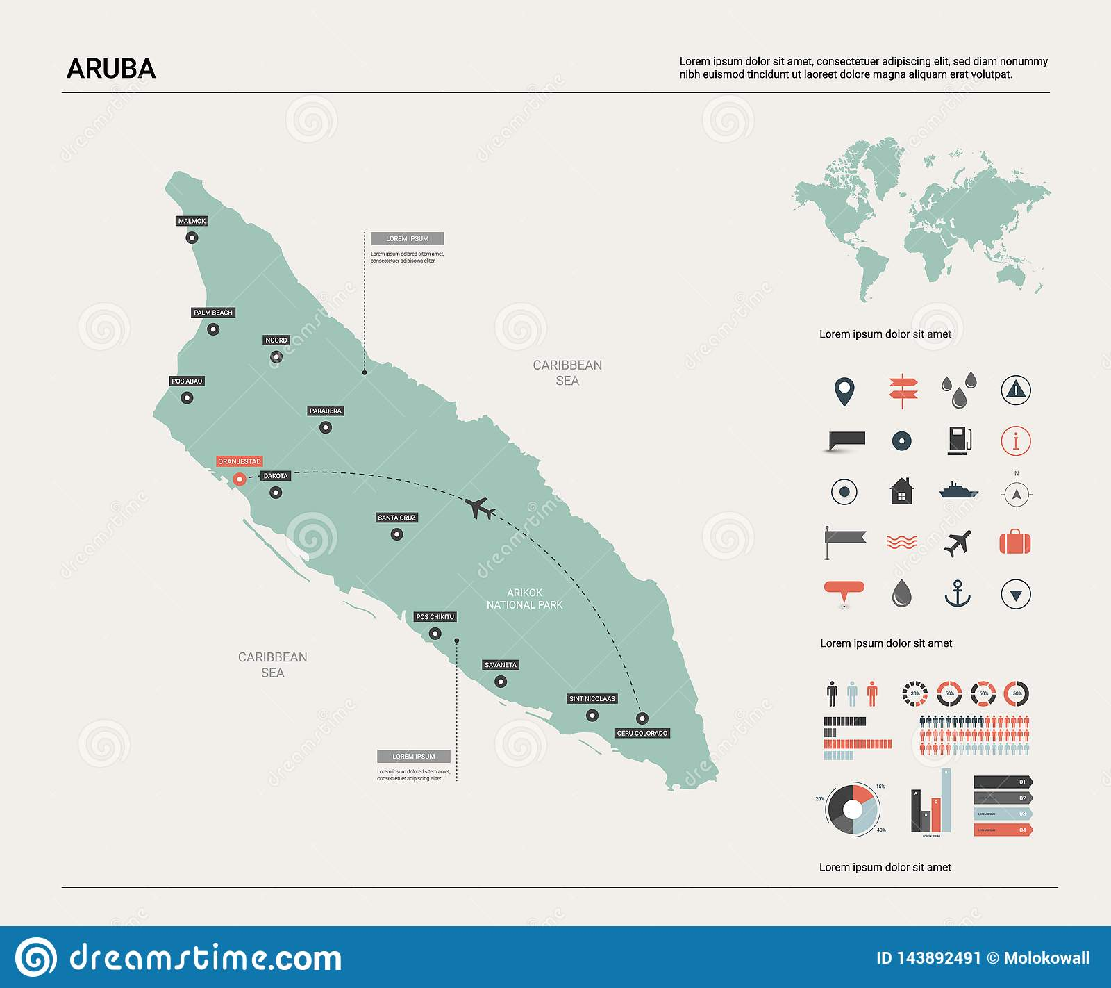 Vector Map Of Aruba. High Detailed Country Map With Division, Cities ...