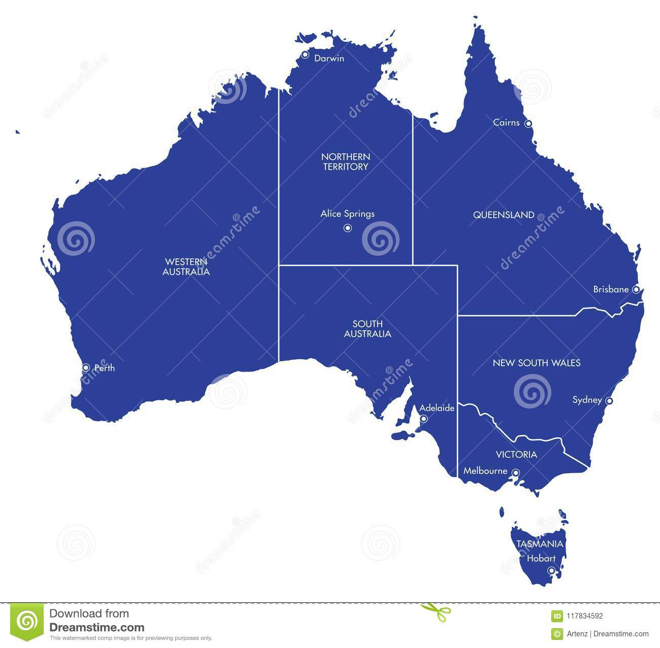 Australia Map States And Cities.Map Of Australia With Cities And States Stock Illustration