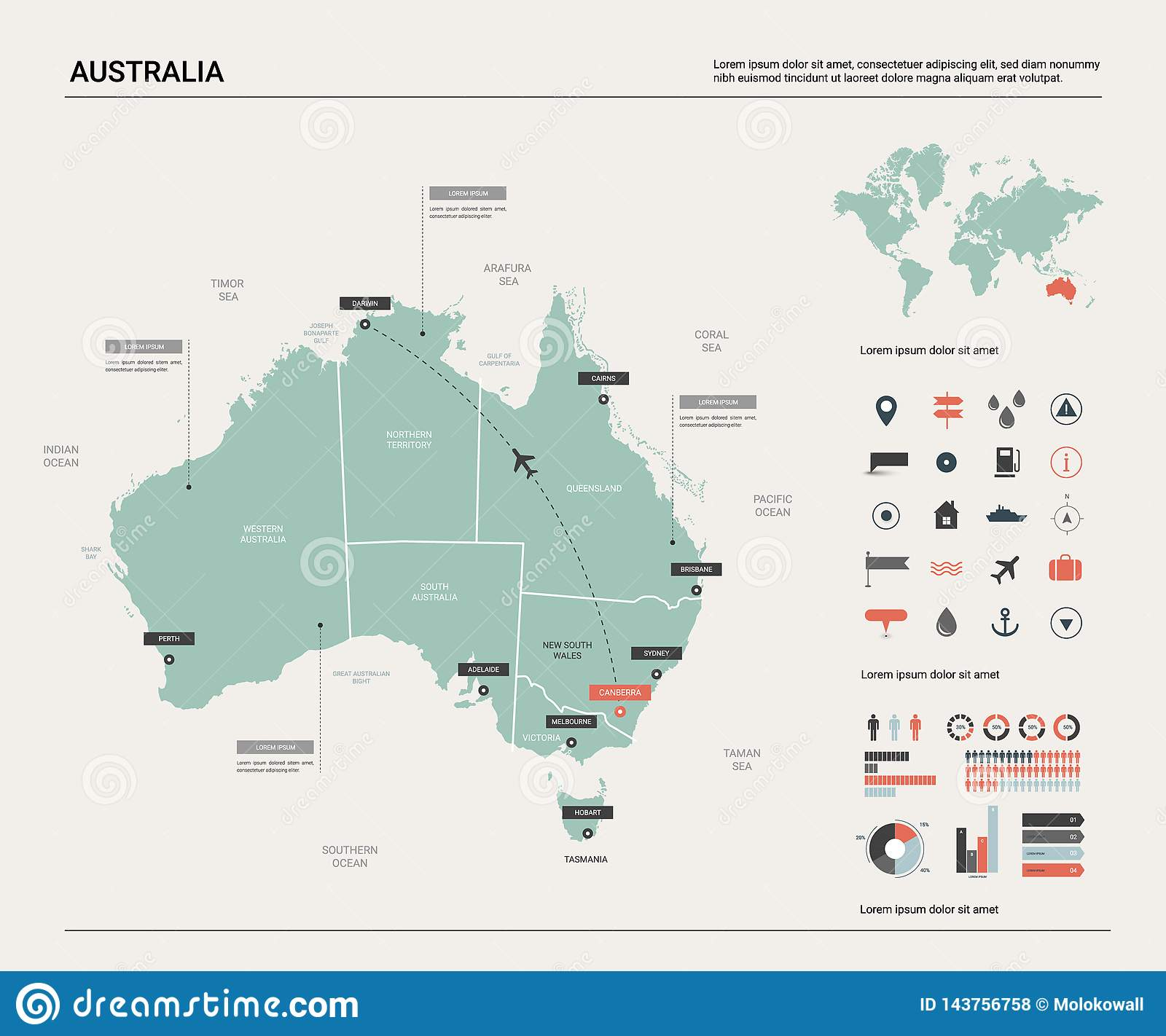 Vector map of Australia .  High detailed map with division, cities and capital Canberra. Political map,  world map, infographic