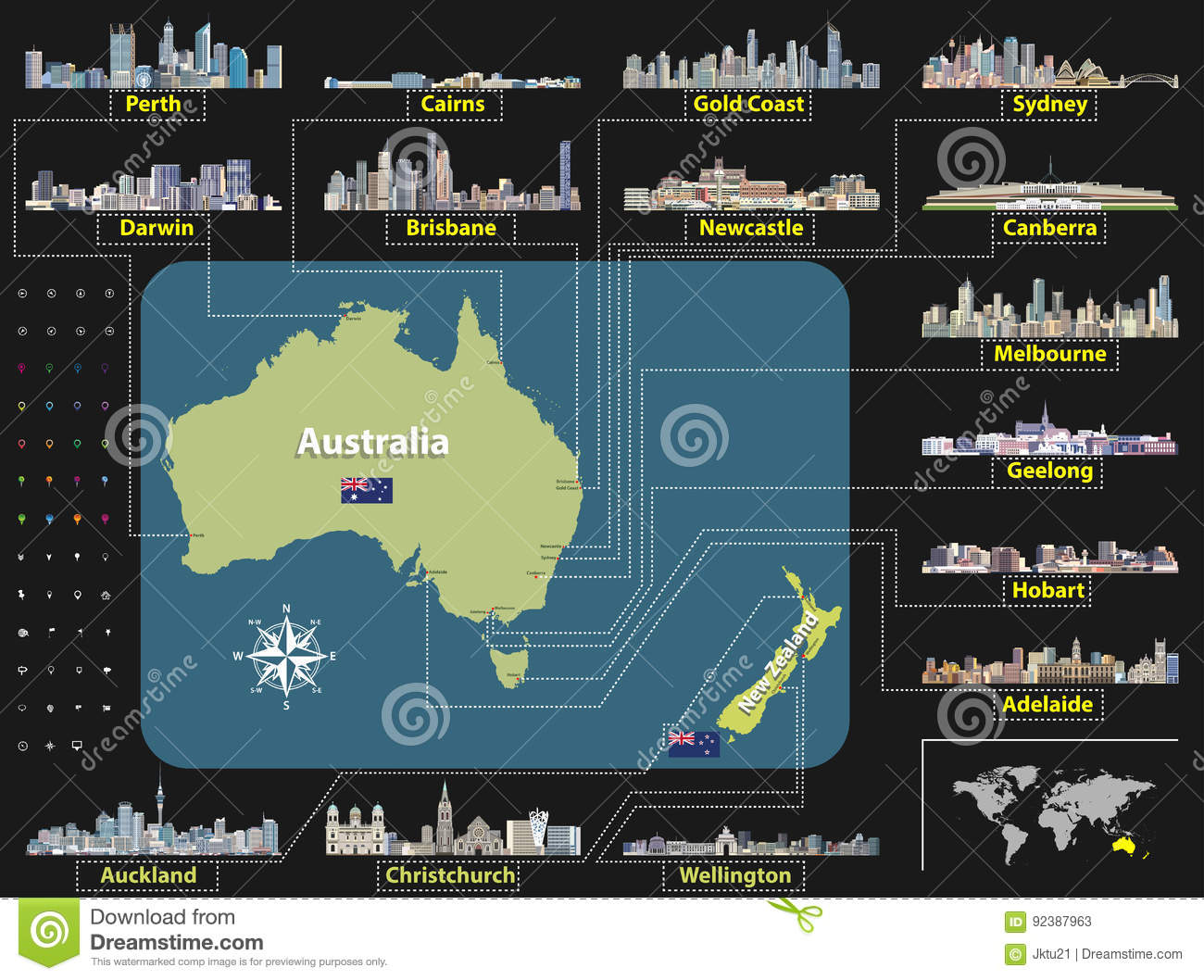 Vector map of australia and new zealand with largest city skylines download vector map of australia and new zealand with largest city skylines stock vector gumiabroncs Image collections