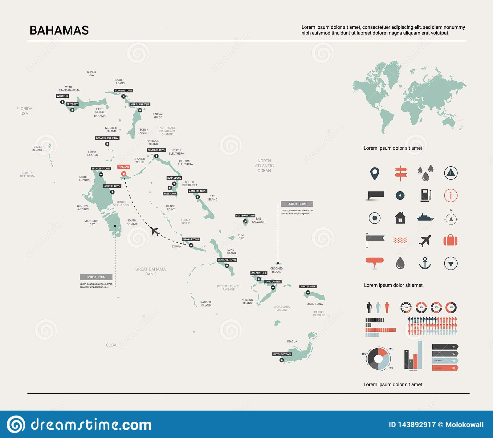 Vector map of Bahamas . High detailed country map with division, cities and capital. Political map, world map, infographic