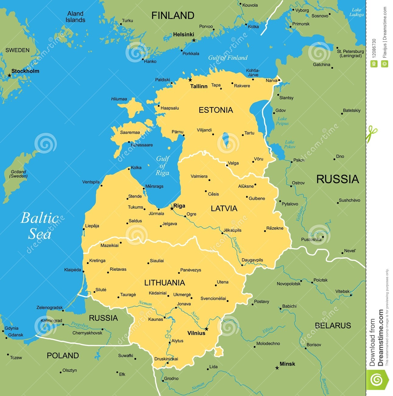 Vector map of Baltic stock vector. Illustration of europe - 12086730