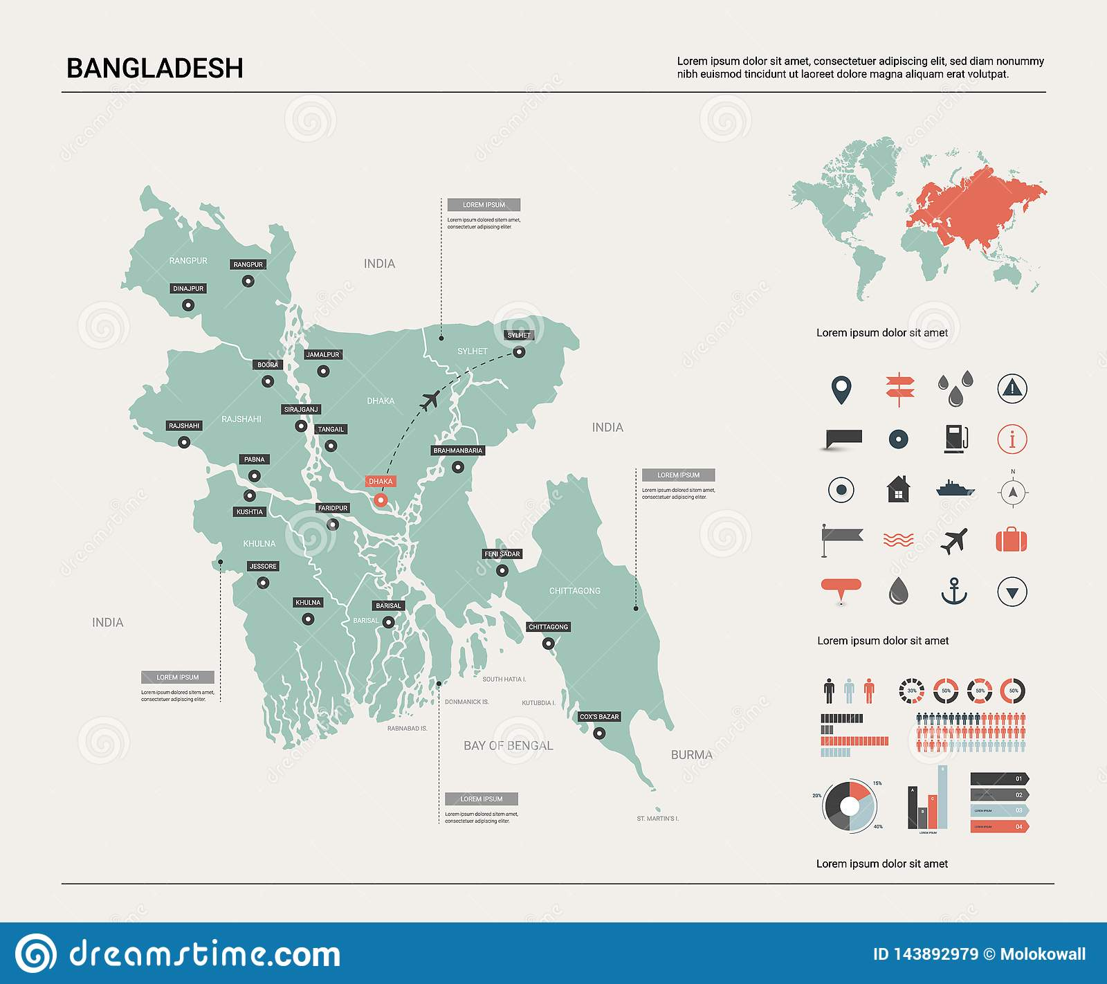 Vector Map Of Bangladesh . High Detailed Country Map With Division ...