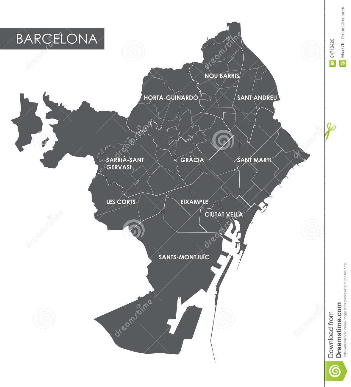Vector Map Barcelona District Stock Vector Image - Barcelona map eixample district