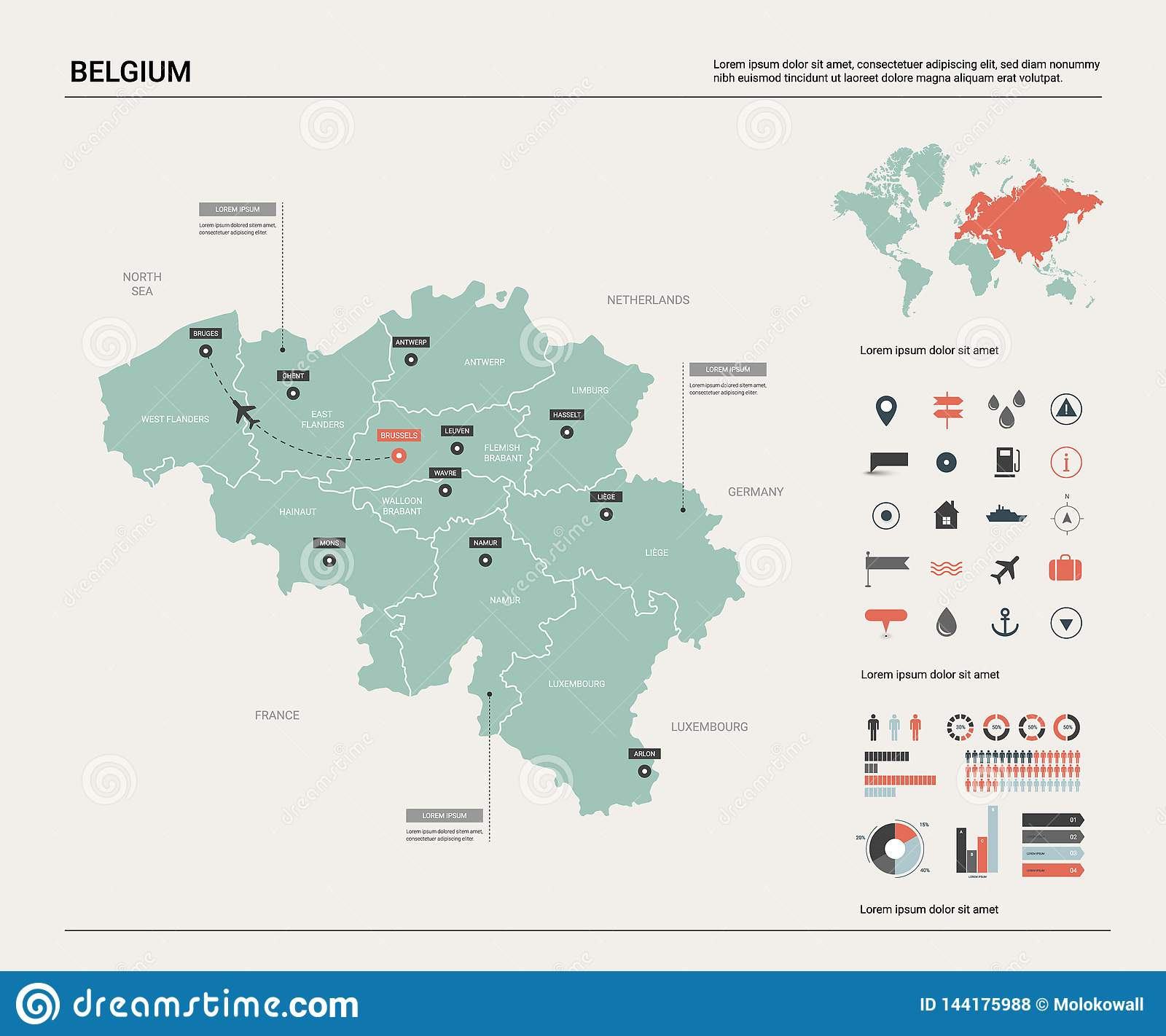 Vector Map Of Belgium . High Detailed Country Map With ...