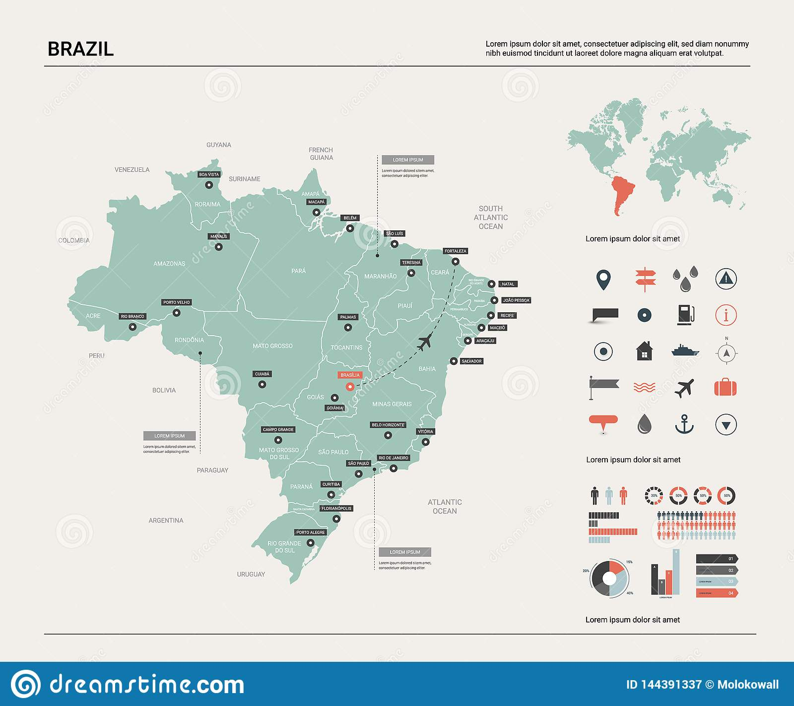 Vector Map Of Brazil. High Detailed Country Map With ...
