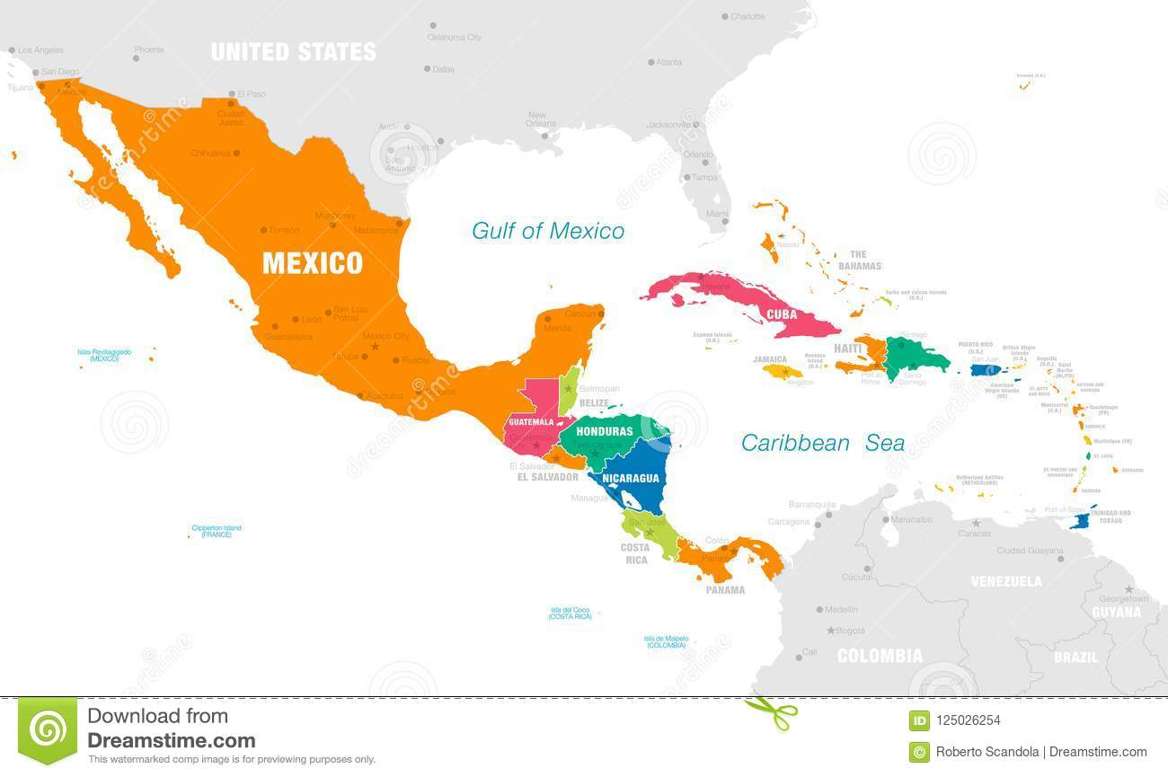 Colorful Vector Map Of Central America Stock Vector ...