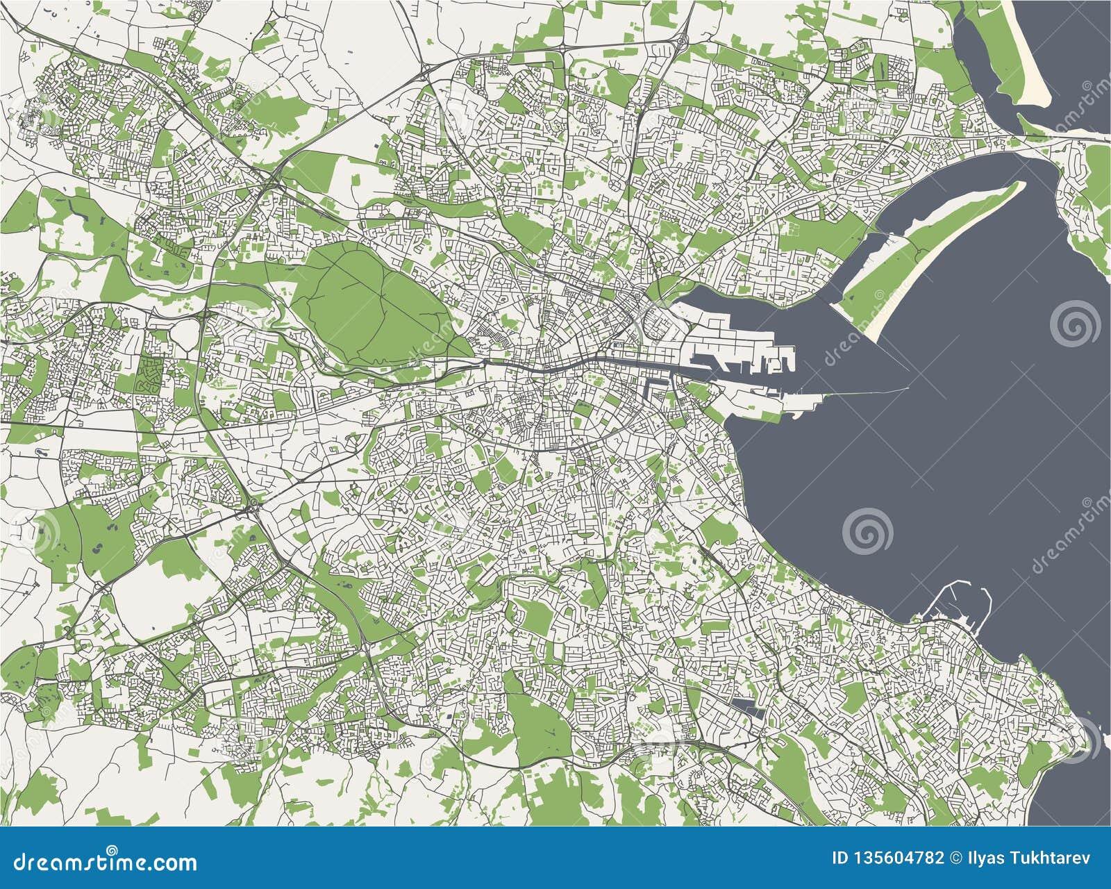 Map Of The City Of Dublin, Ireland Stock Illustration ...
