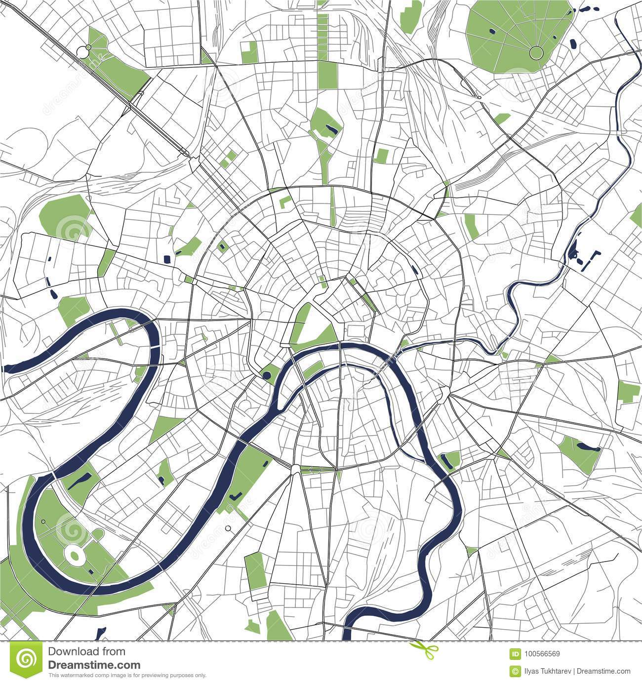 Map Of The City Of Moscow, Russia Stock Vector - Illustration of ...