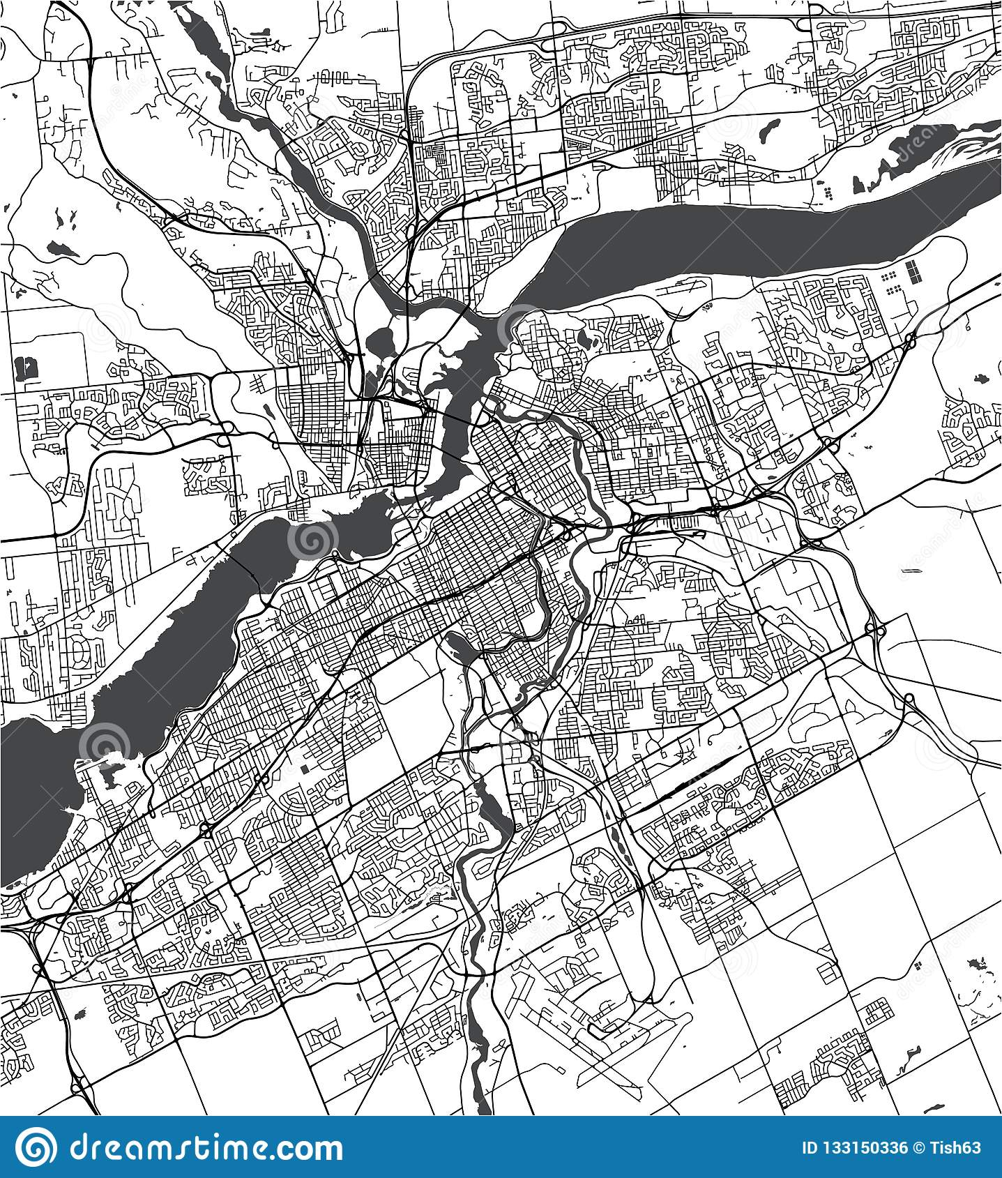 Map Of The City Of Ottawa Ontario Canada Stock Illustration